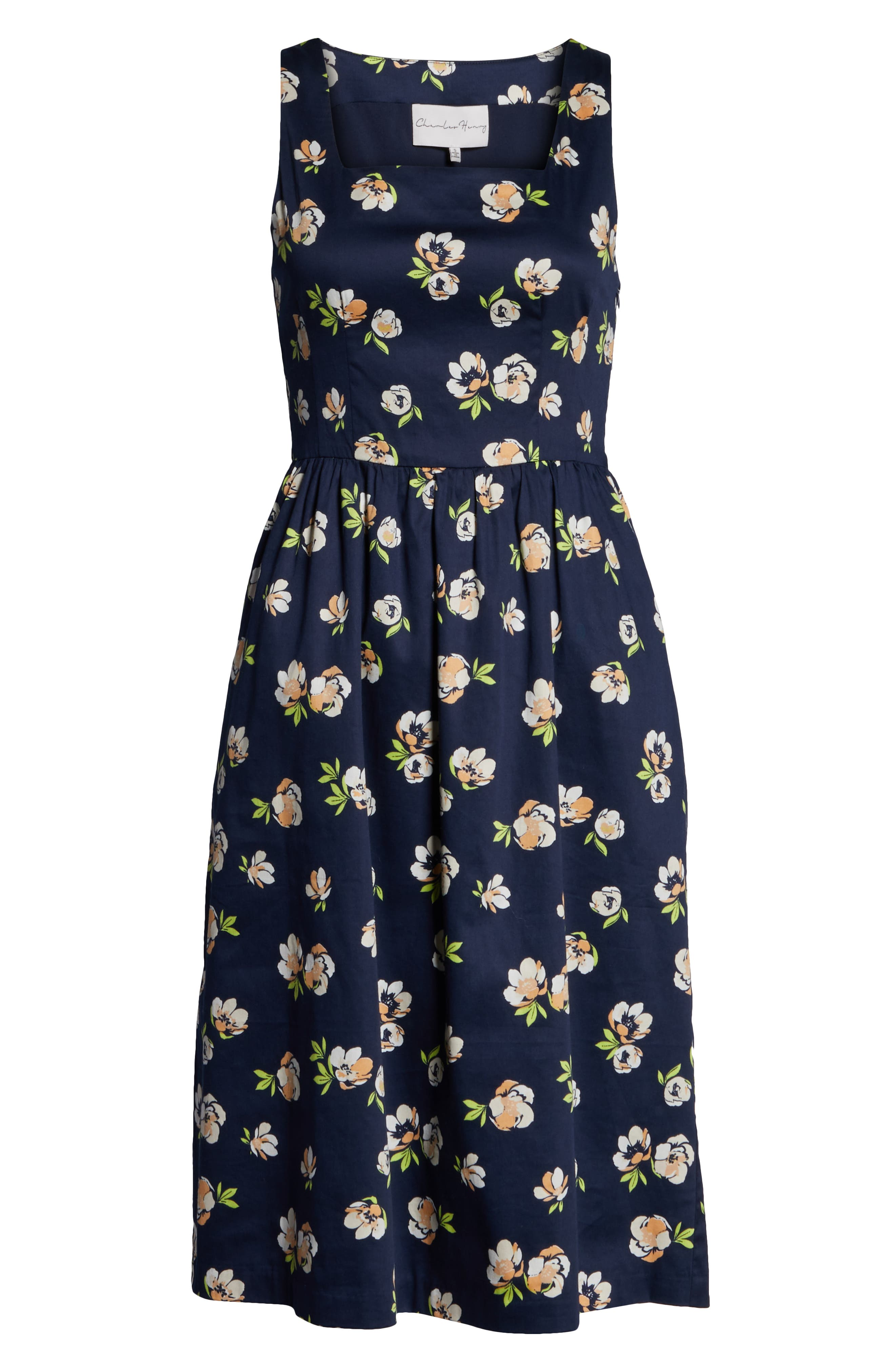 CHARLES HENRY, Sleeveless Fit & Flare Dress, Alternate thumbnail 7, color, NAVY PEACH FLORAL