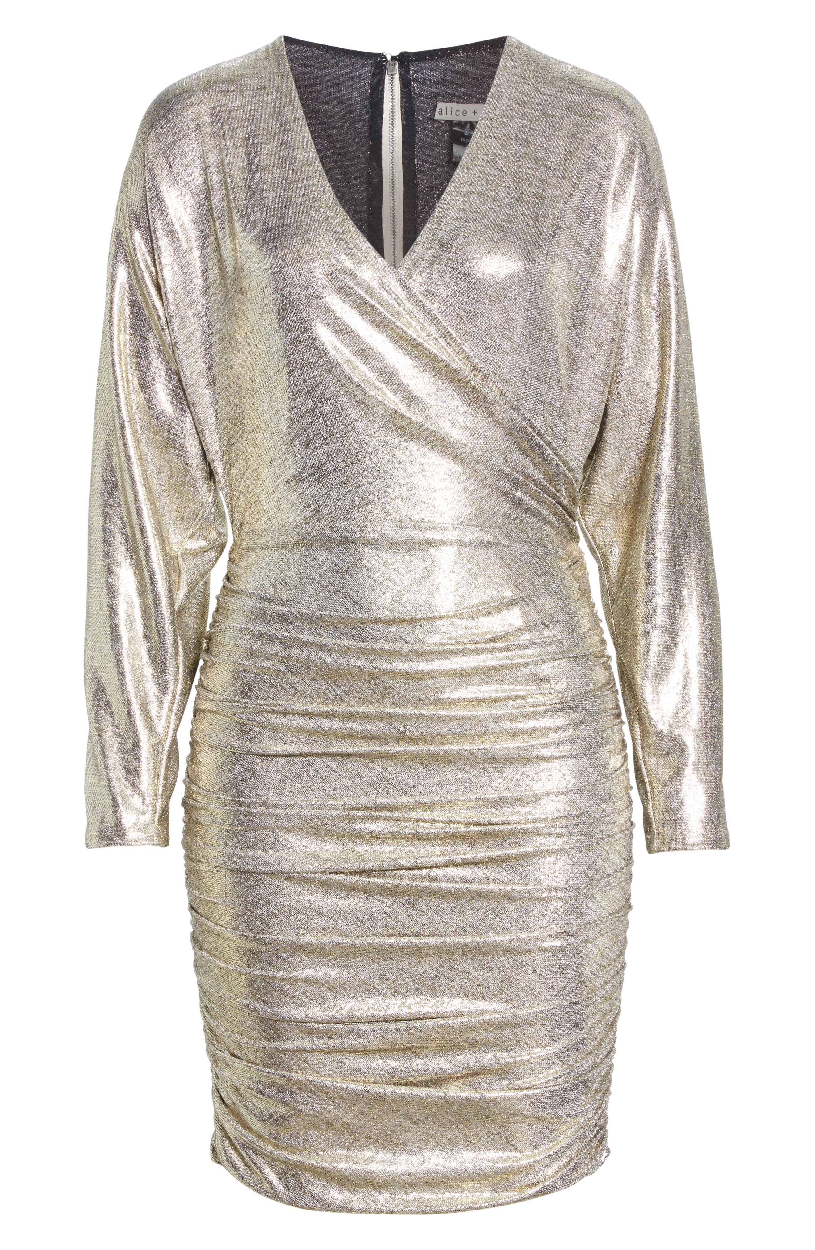 ALICE + OLIVIA, Pace Batwing Sleeve Party Dress, Alternate thumbnail 7, color, SILVER