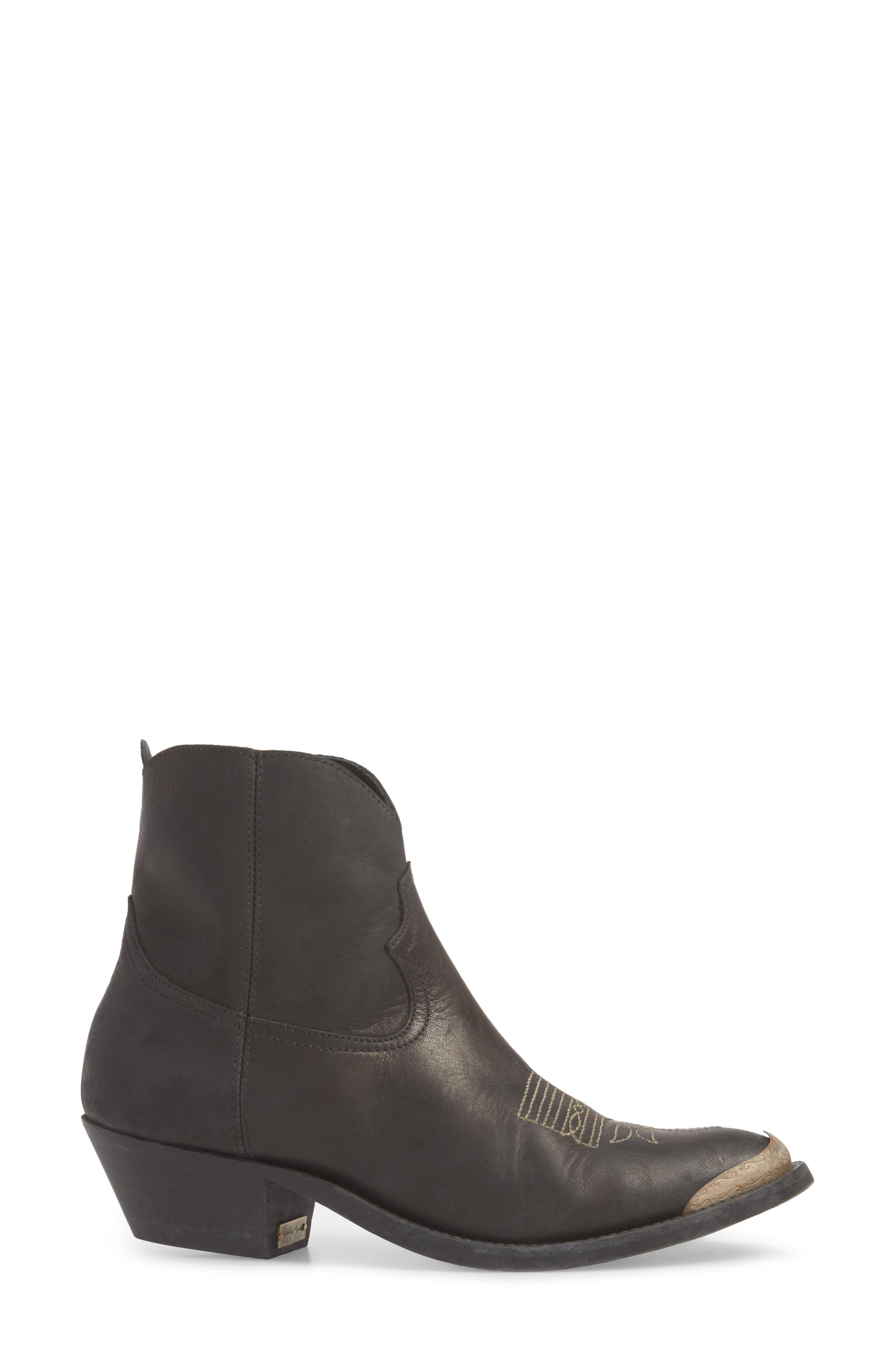 GOLDEN GOOSE, Young Western Bootie, Alternate thumbnail 3, color, BLACK