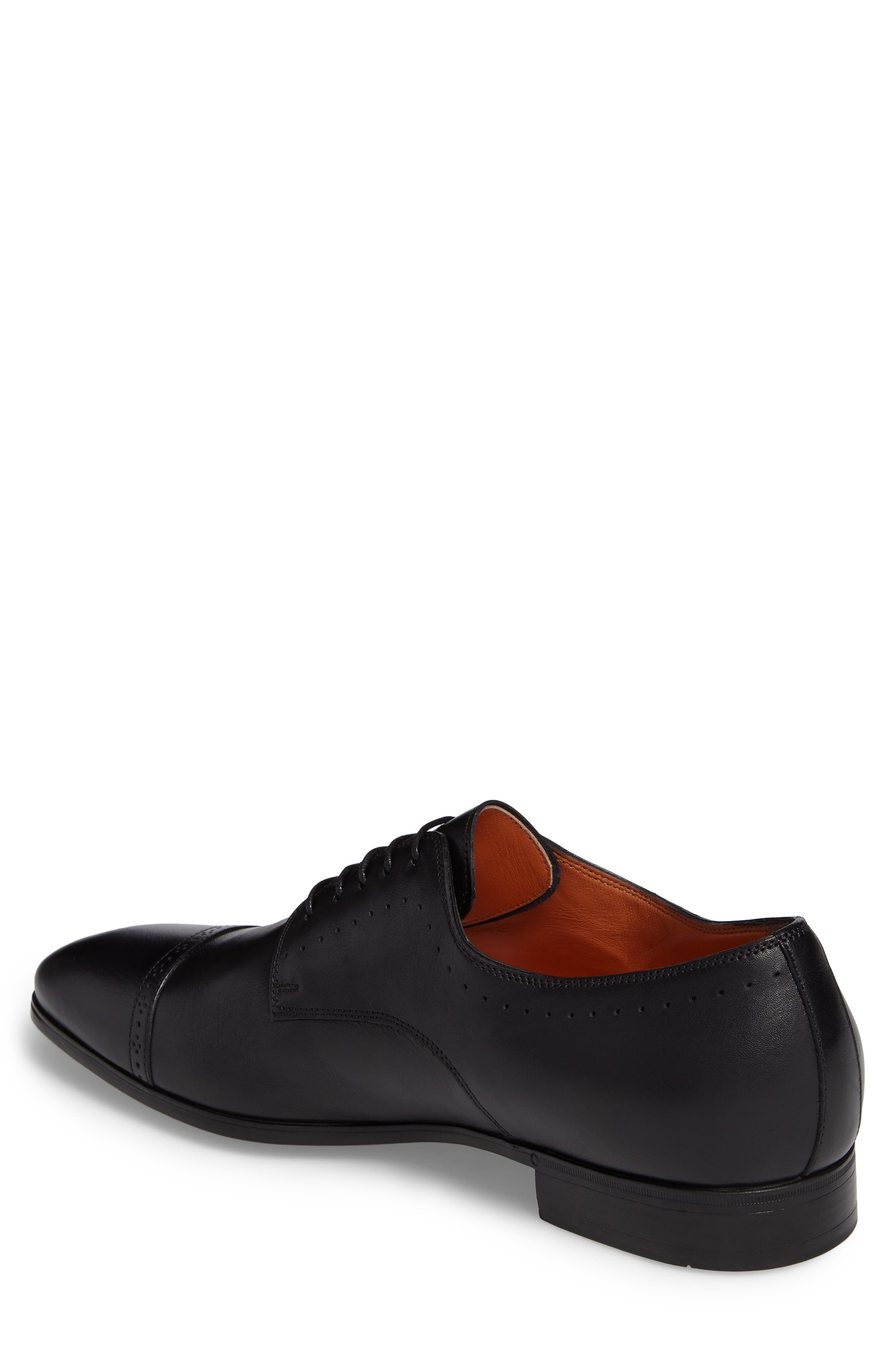SANTONI, Gareth Cap Toe Derby, Alternate thumbnail 2, color, BLACK LEATHER