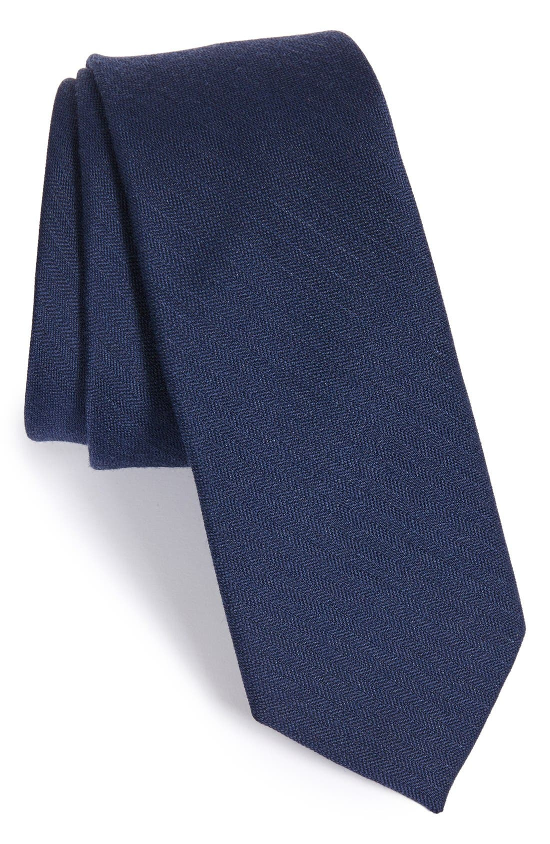 THE TIE BAR Solid Wool & Silk Tie, Main, color, NAVY