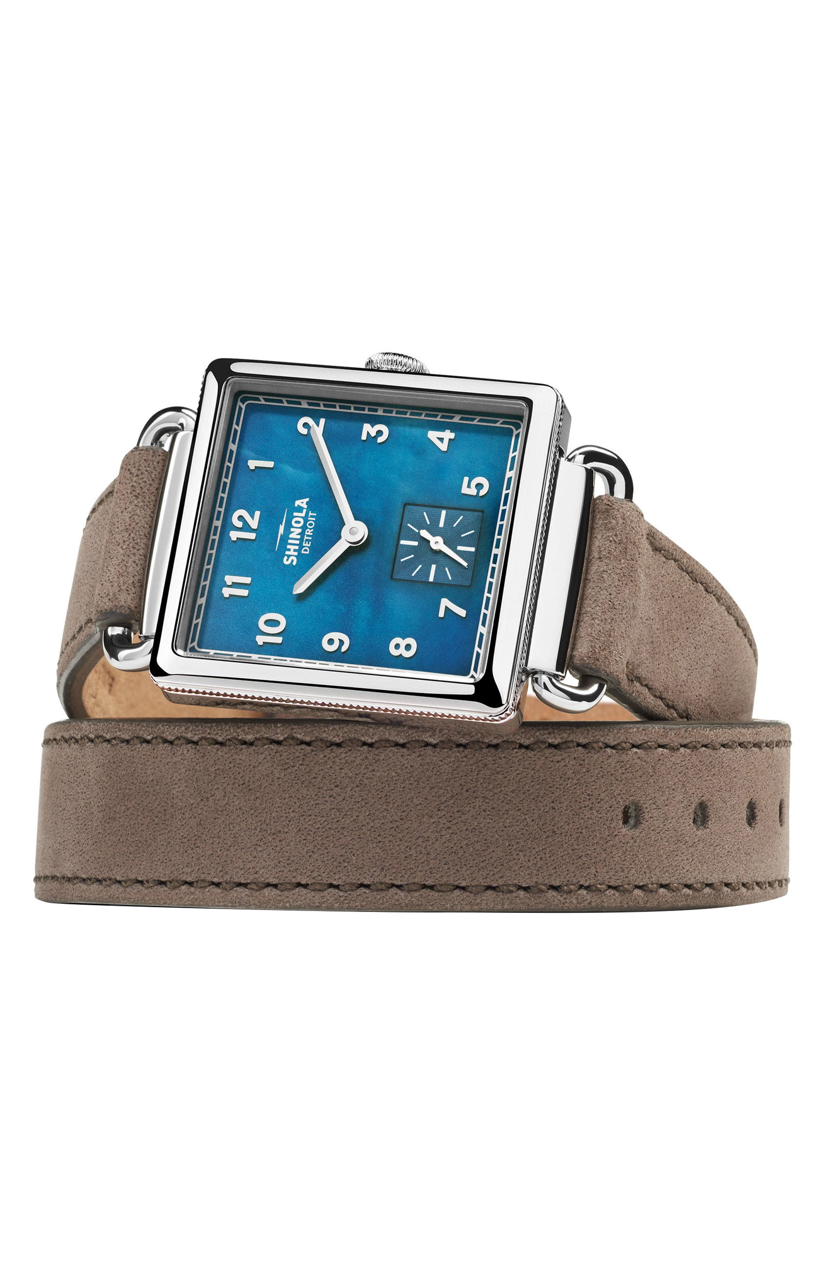 SHINOLA, Cass Leather Strap Watch, 28mm, Alternate thumbnail 3, color, GREY/ NAVY MOTHER OF PEARL