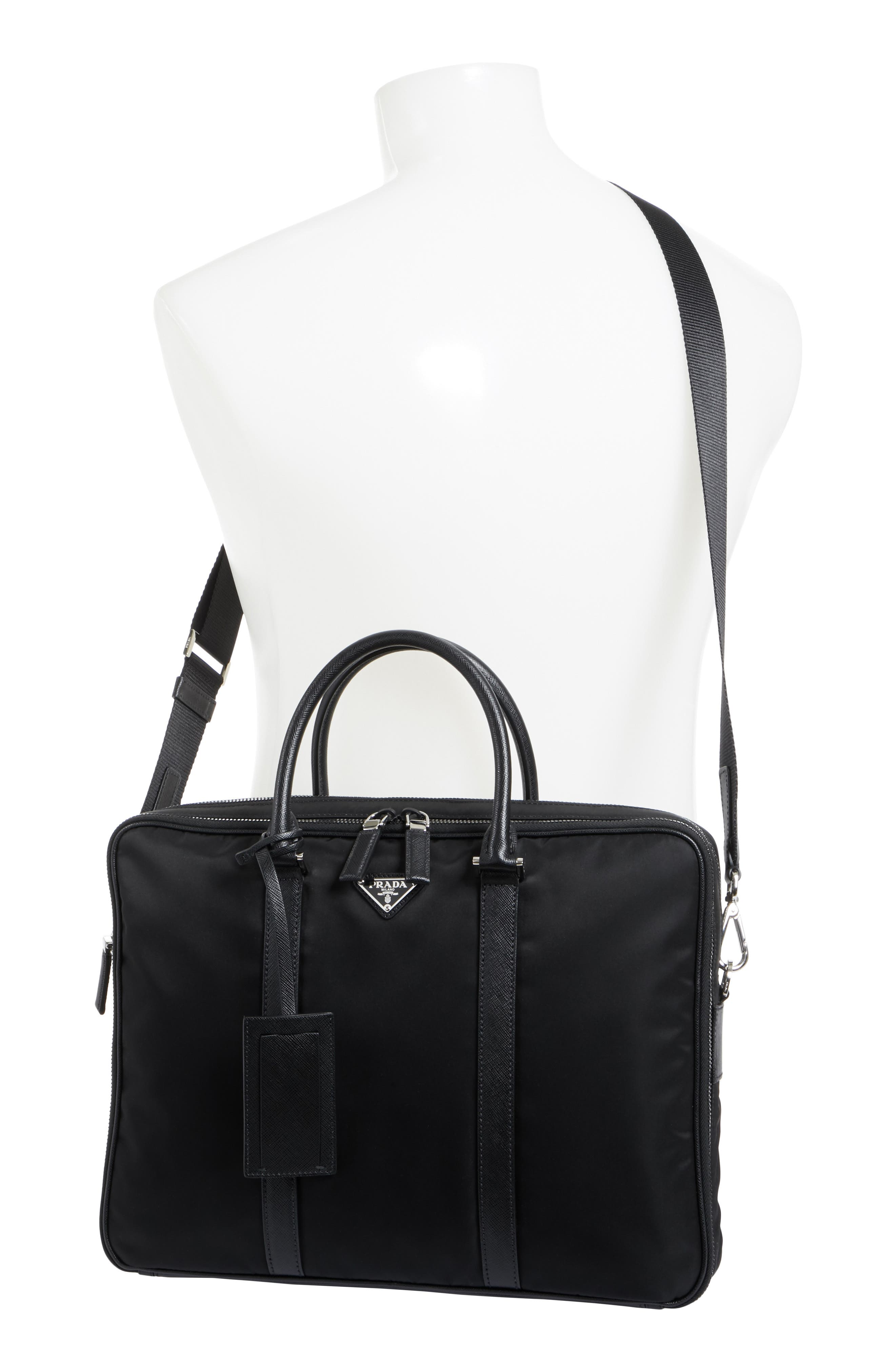 PRADA, Nylon Briefcase with Saffiano Leather Trim, Alternate thumbnail 2, color, 001