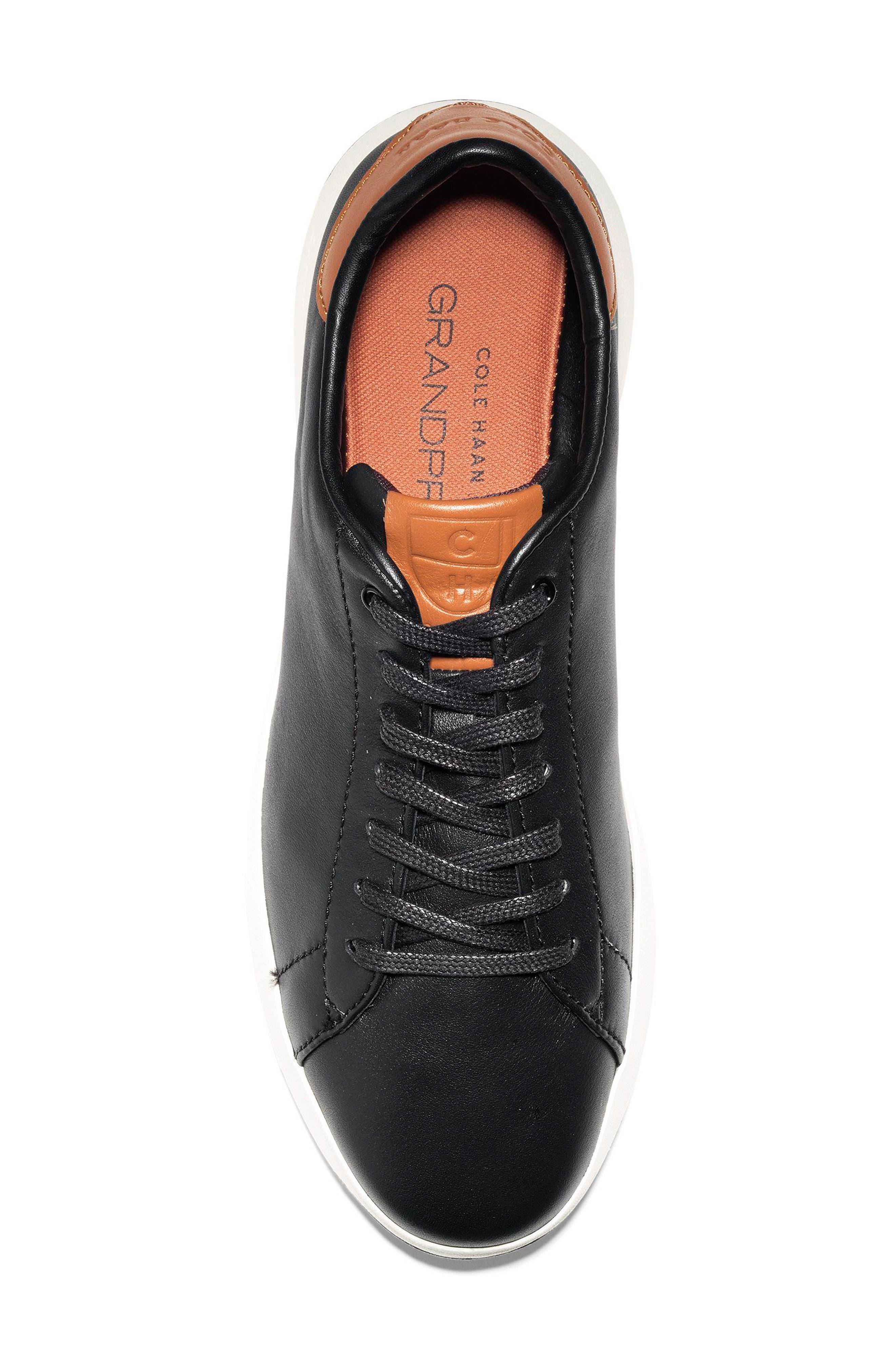 COLE HAAN, GrandPro Tennis Sneaker, Alternate thumbnail 5, color, BLACK/ BRITISH TAN