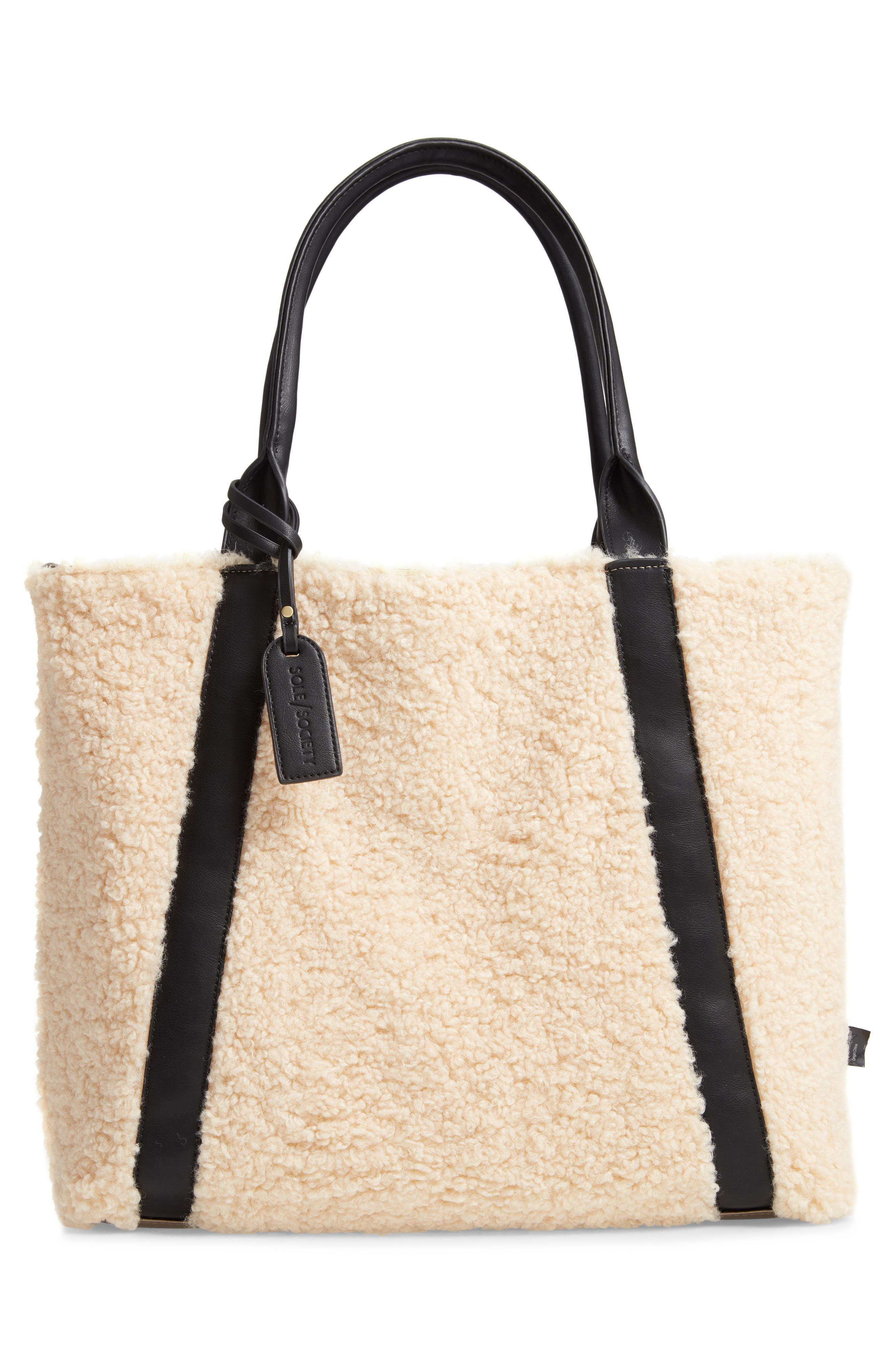 SOLE SOCIETY, Drury Faux Shearling Reversible Tote, Alternate thumbnail 3, color, PEWTER COMBO
