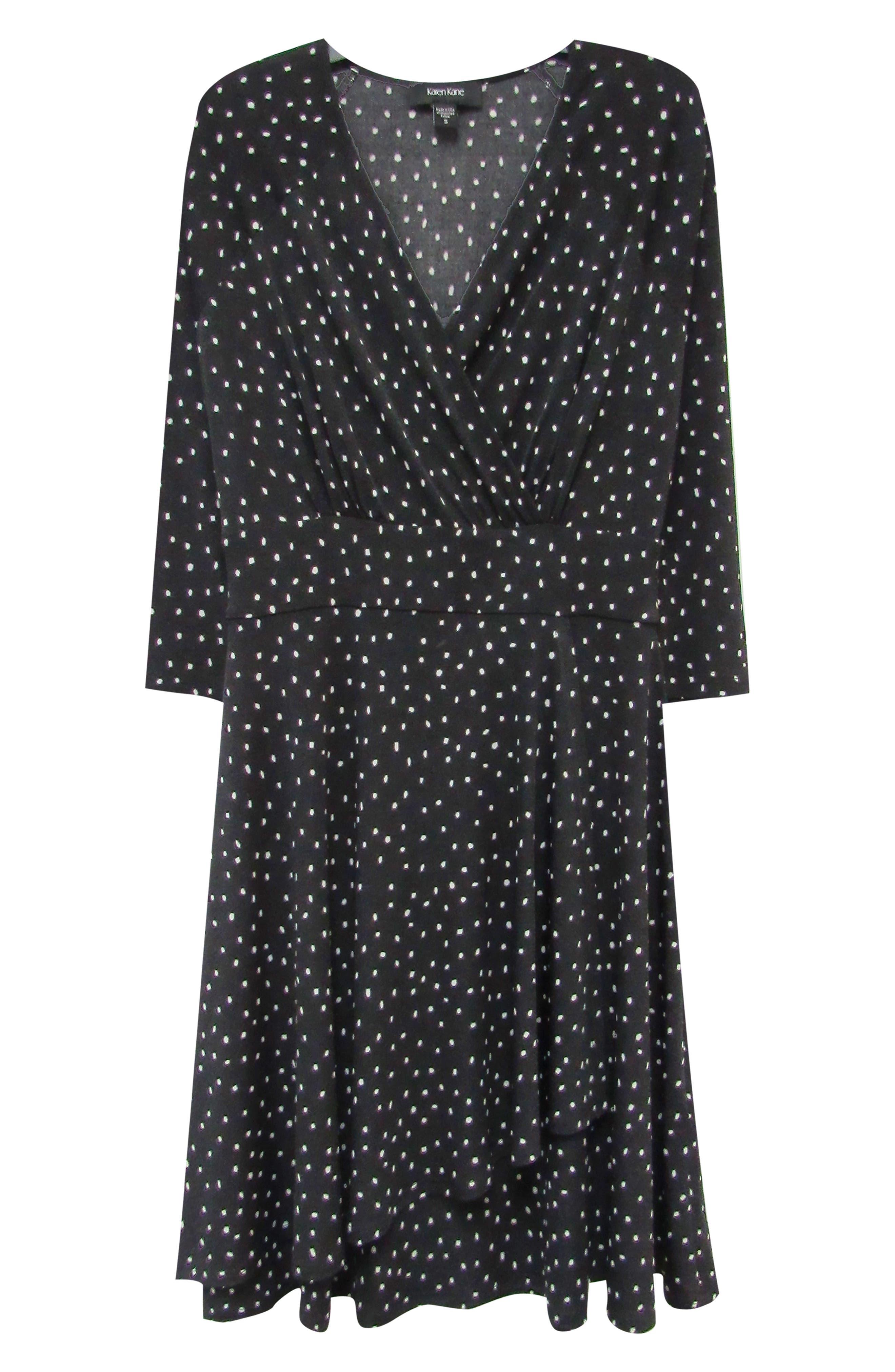 KAREN KANE, Faux Wrap Dress, Alternate thumbnail 3, color, 001