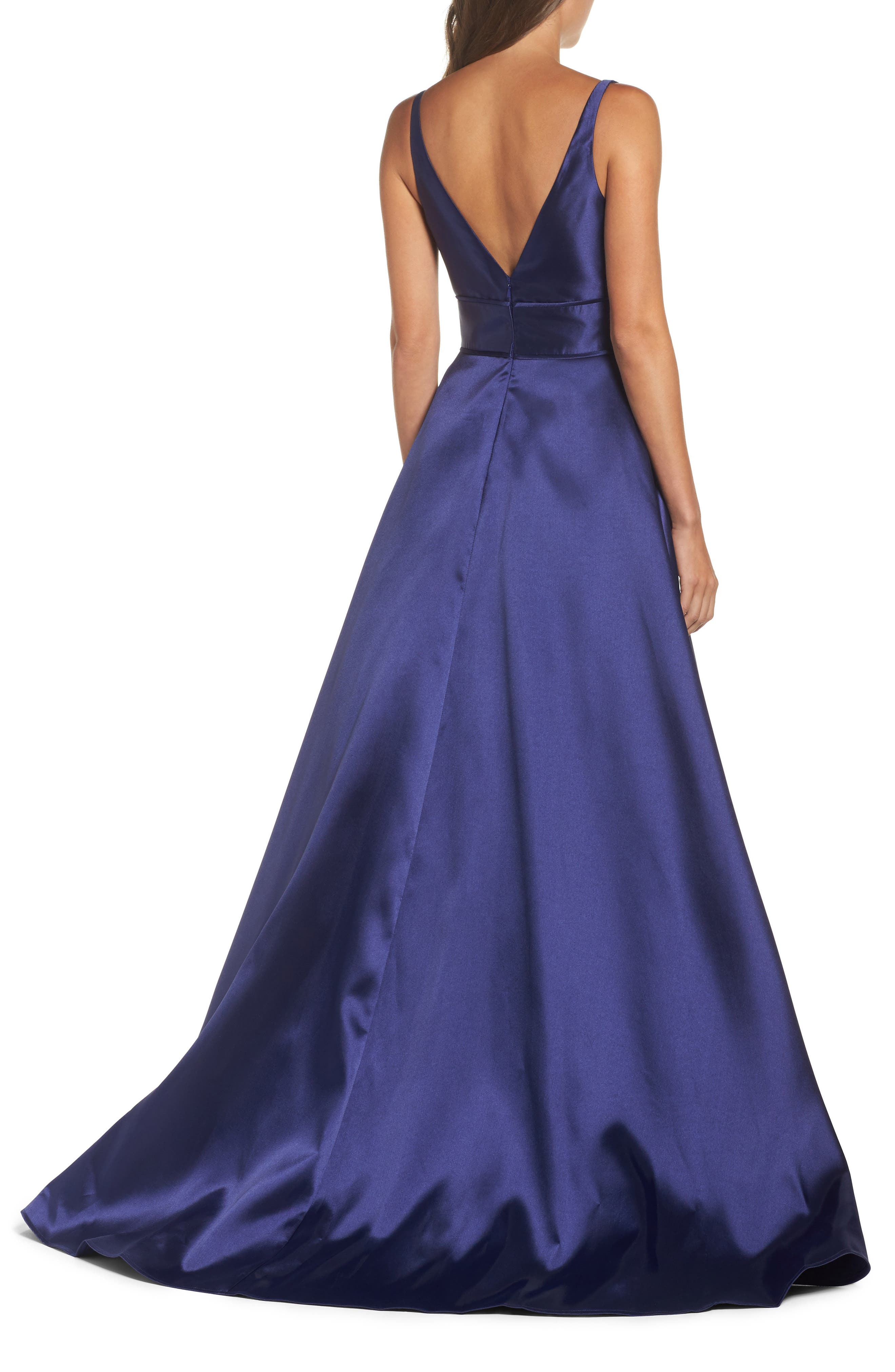 IEENA FOR MAC DUGGAL, Plunging Sweetheart Neck Ballgown, Alternate thumbnail 2, color, NAVY