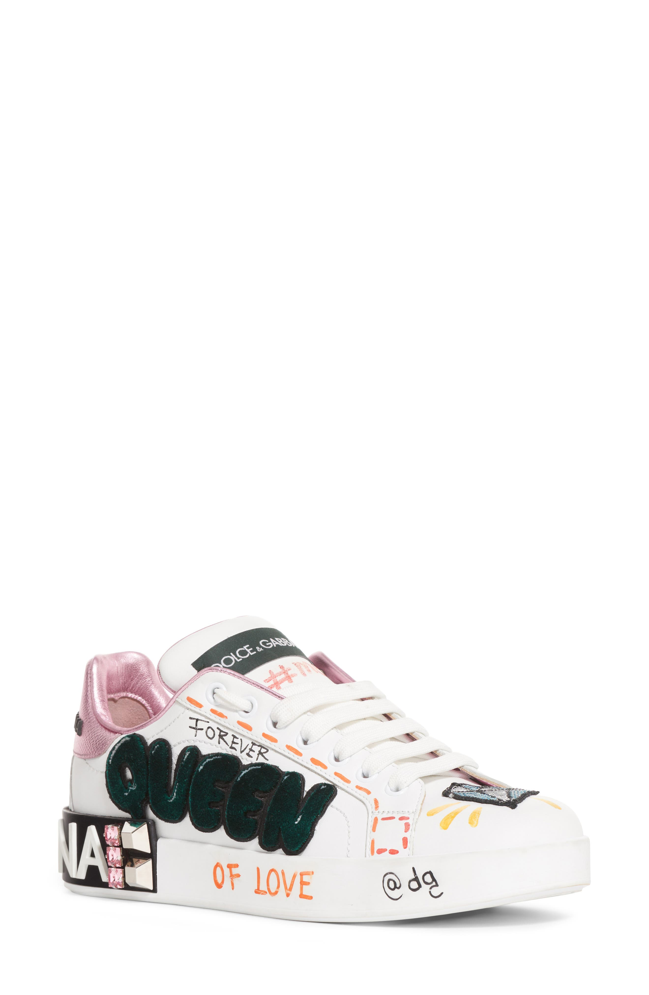 DOLCE&GABBANA, Queen Graffiti Lace-Up Sneaker, Main thumbnail 1, color, 110