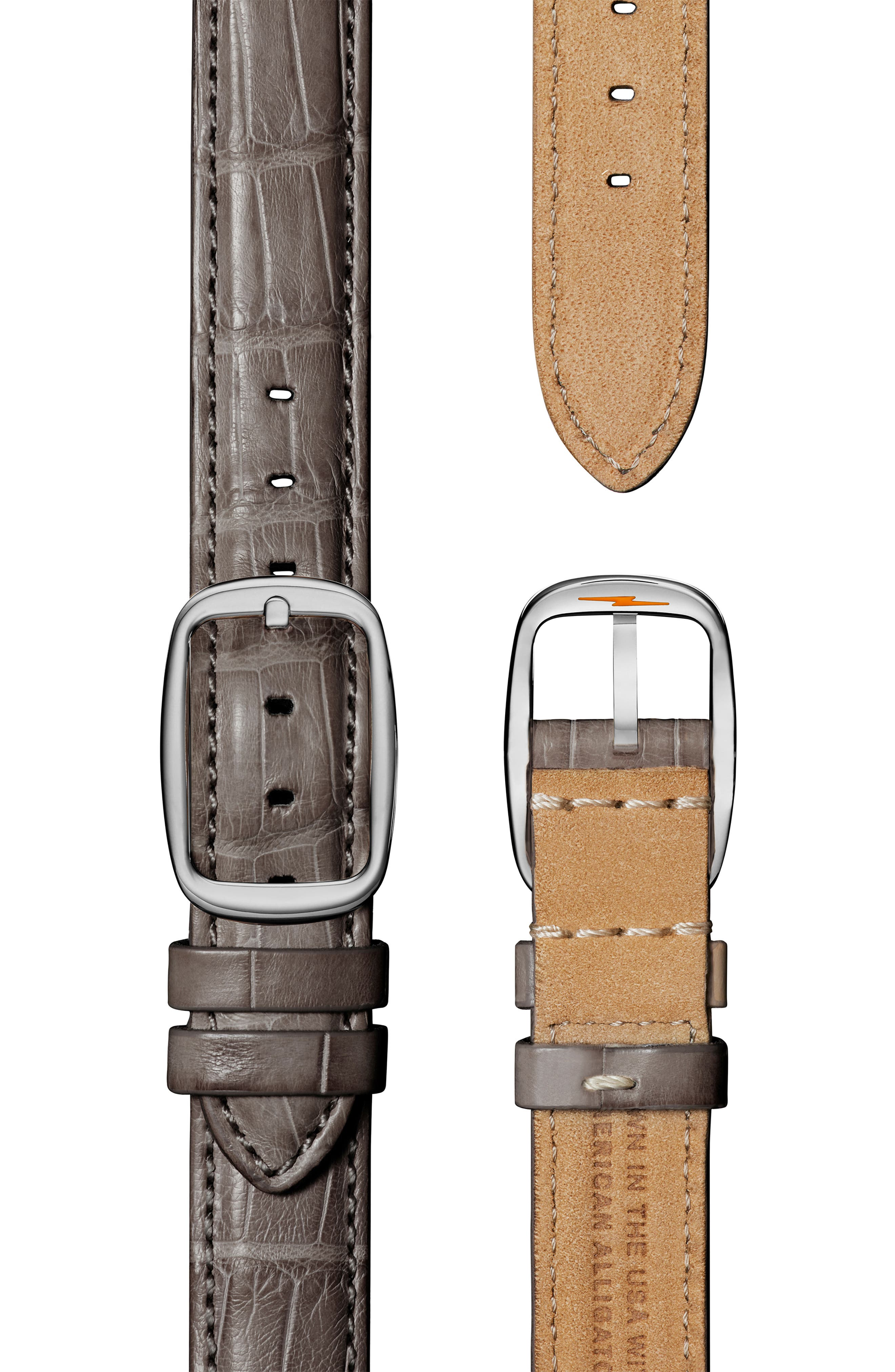 SHINOLA, The Canfield Alligator Strap Watch, 38mm, Alternate thumbnail 4, color, GREY/ TAUPE SUNRAY/ SILVER