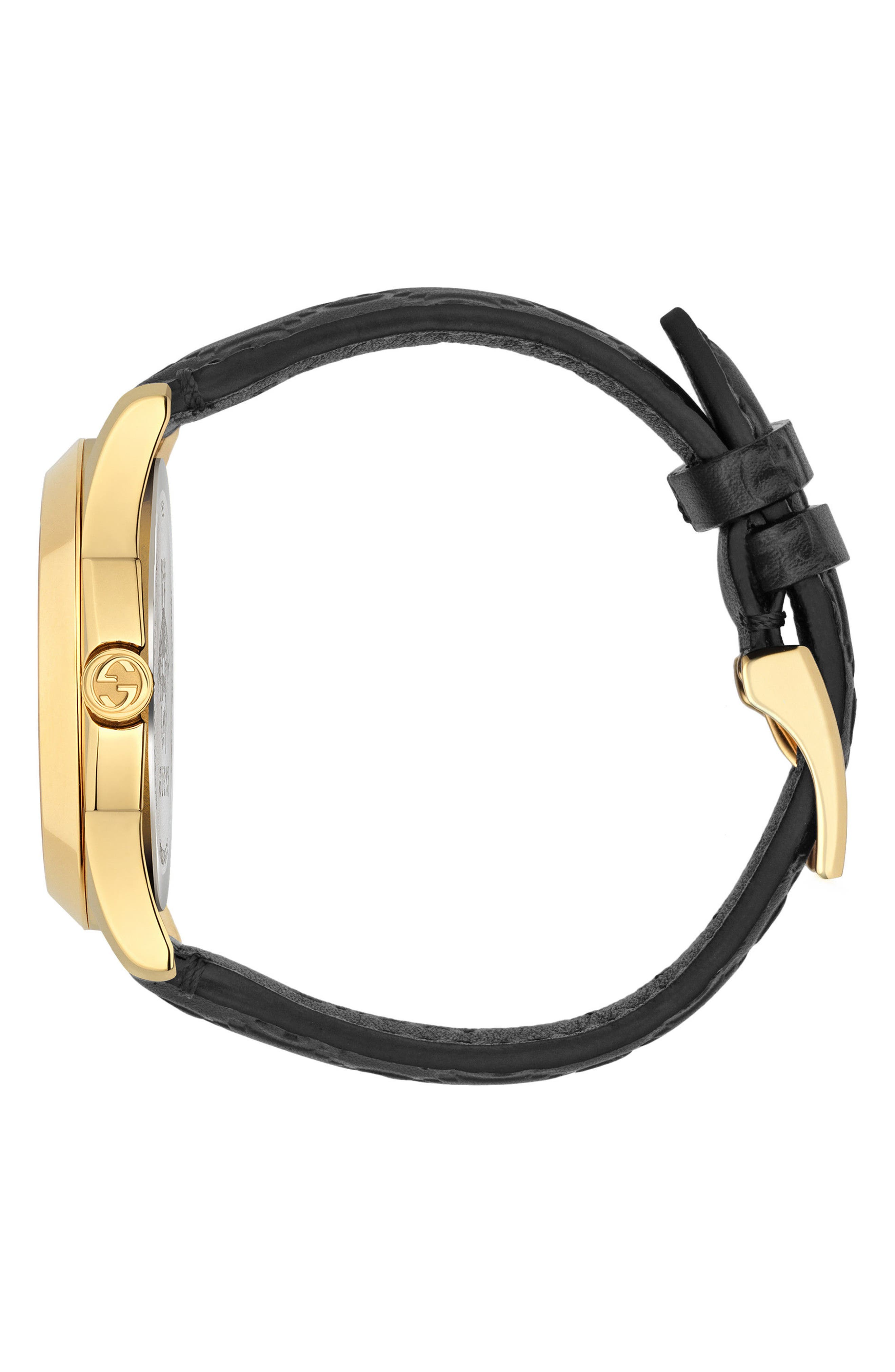 GUCCI, G-Timeless Leather Strap Watch, 38mm, Alternate thumbnail 3, color, BLACK/ GOLD