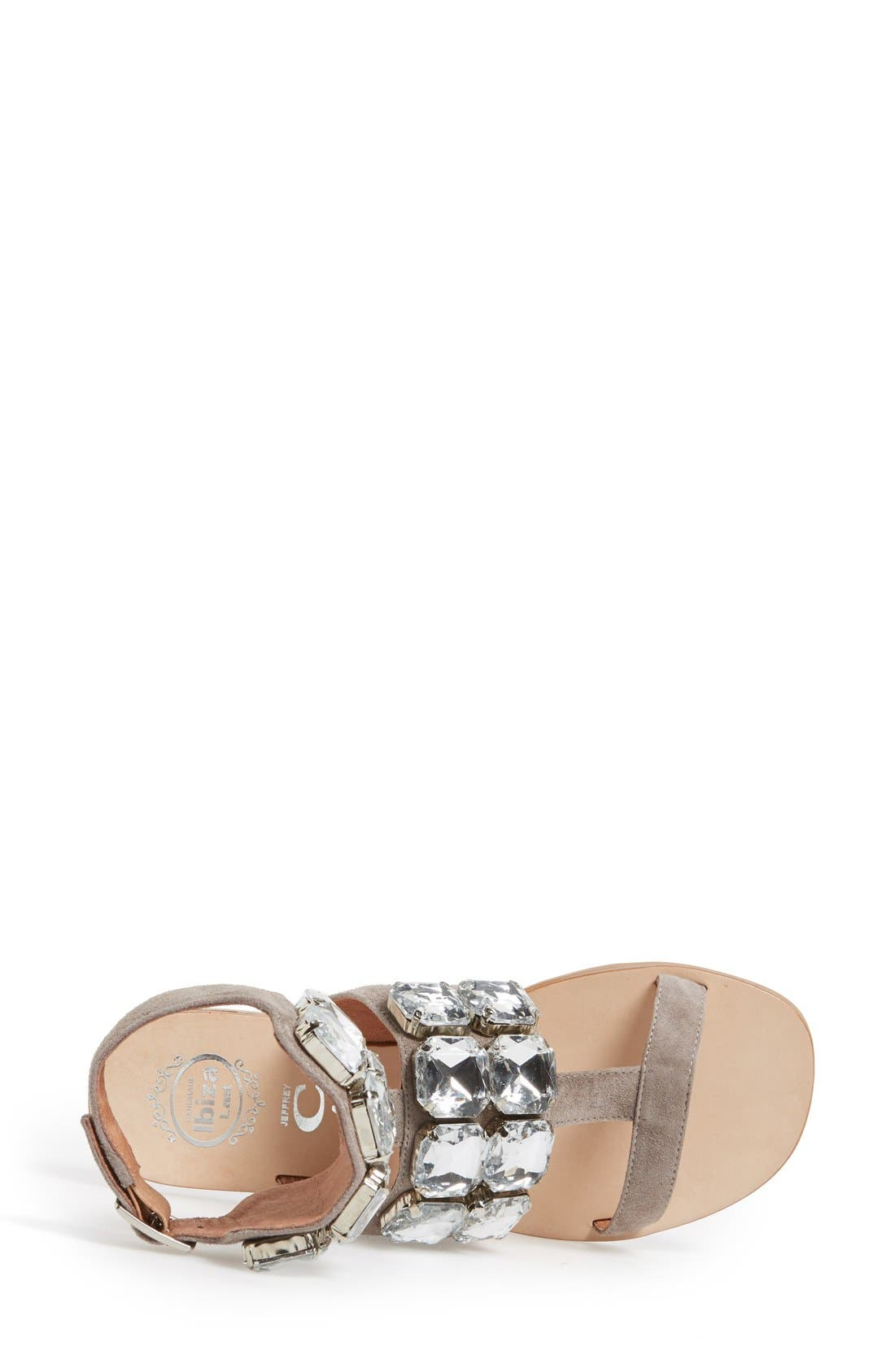 JEFFREY CAMPBELL, 'Sabita' Jeweled Suede Ankle Strap Sandal, Alternate thumbnail 3, color, 060