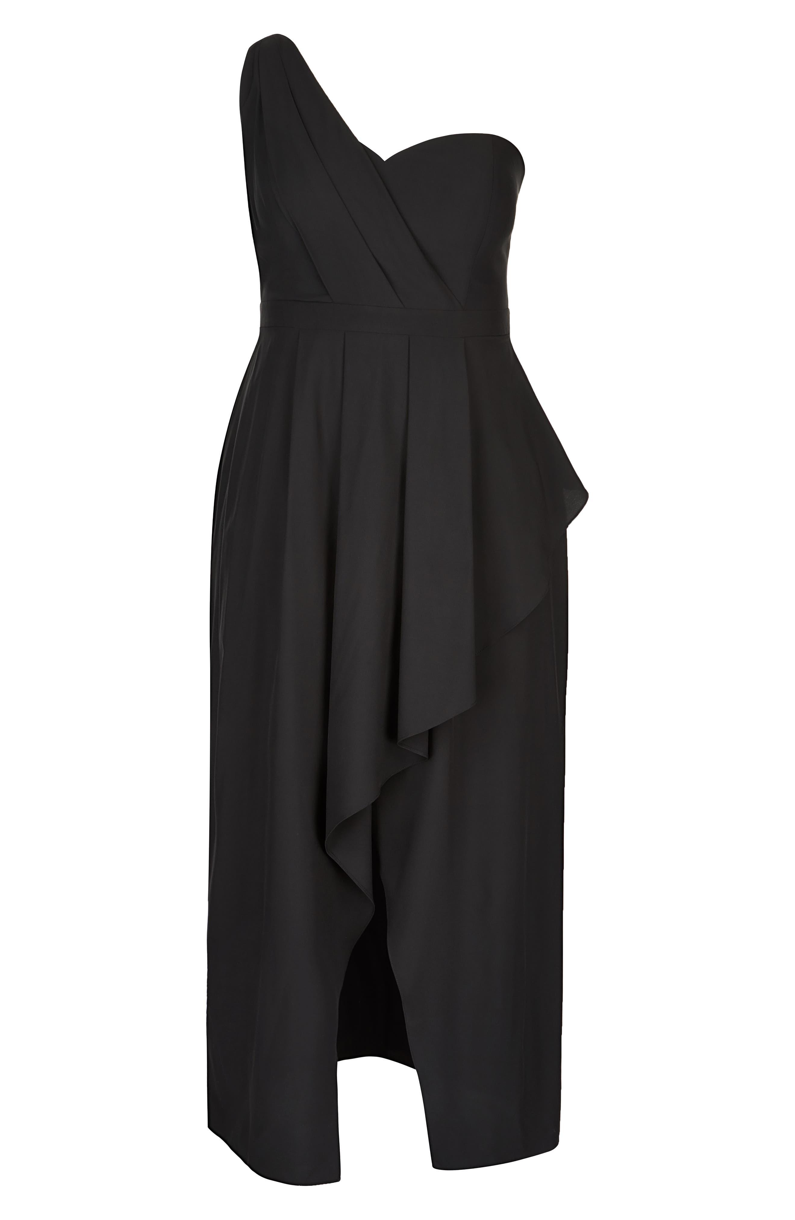 CITY CHIC, Allure One-Shoulder Maxi Dress, Alternate thumbnail 4, color, BLACK