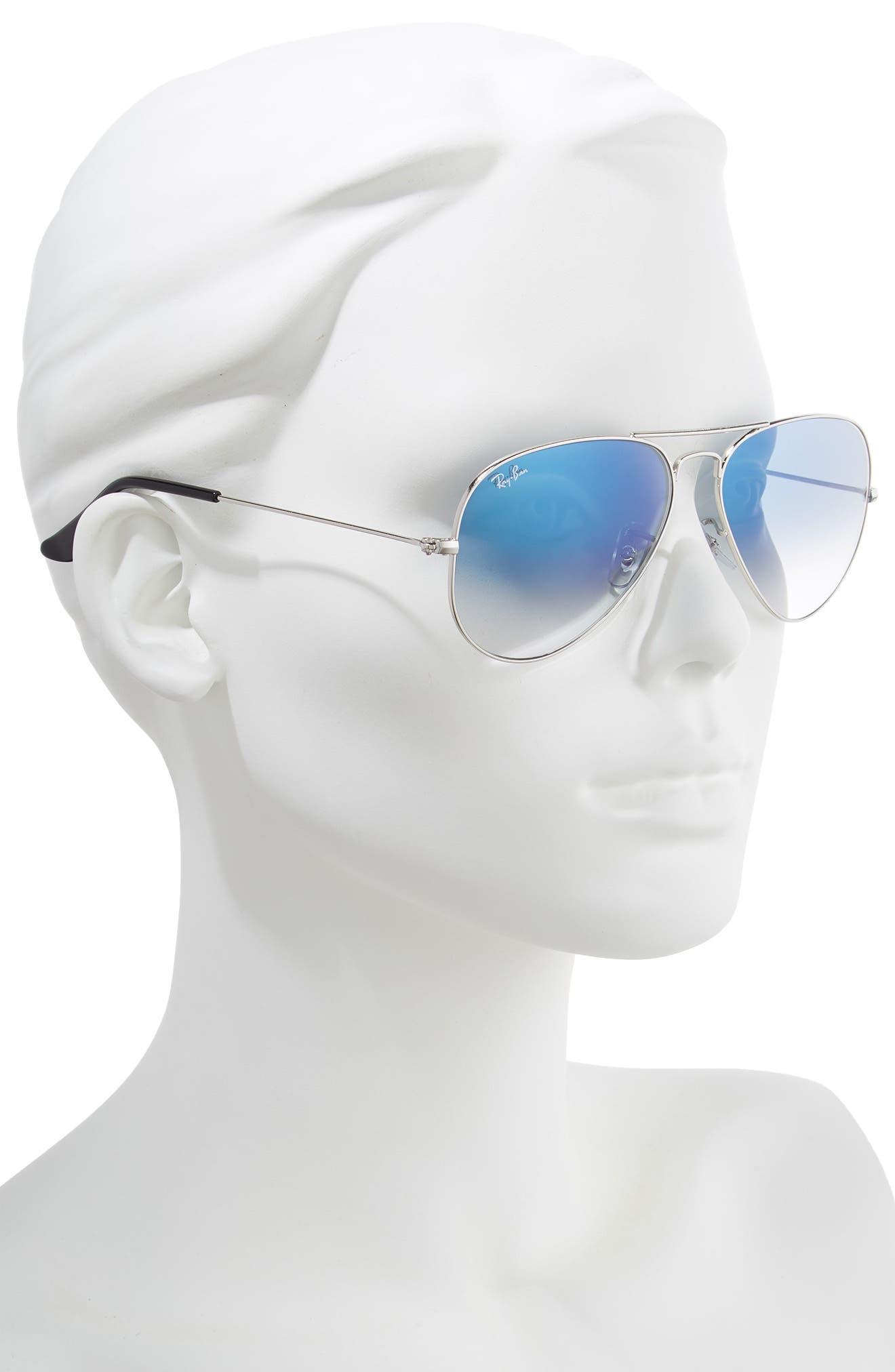 RAY-BAN, 58mm Gradient Aviator Sunglasses, Alternate thumbnail 2, color, SILVER/ BLUE GRADIENT