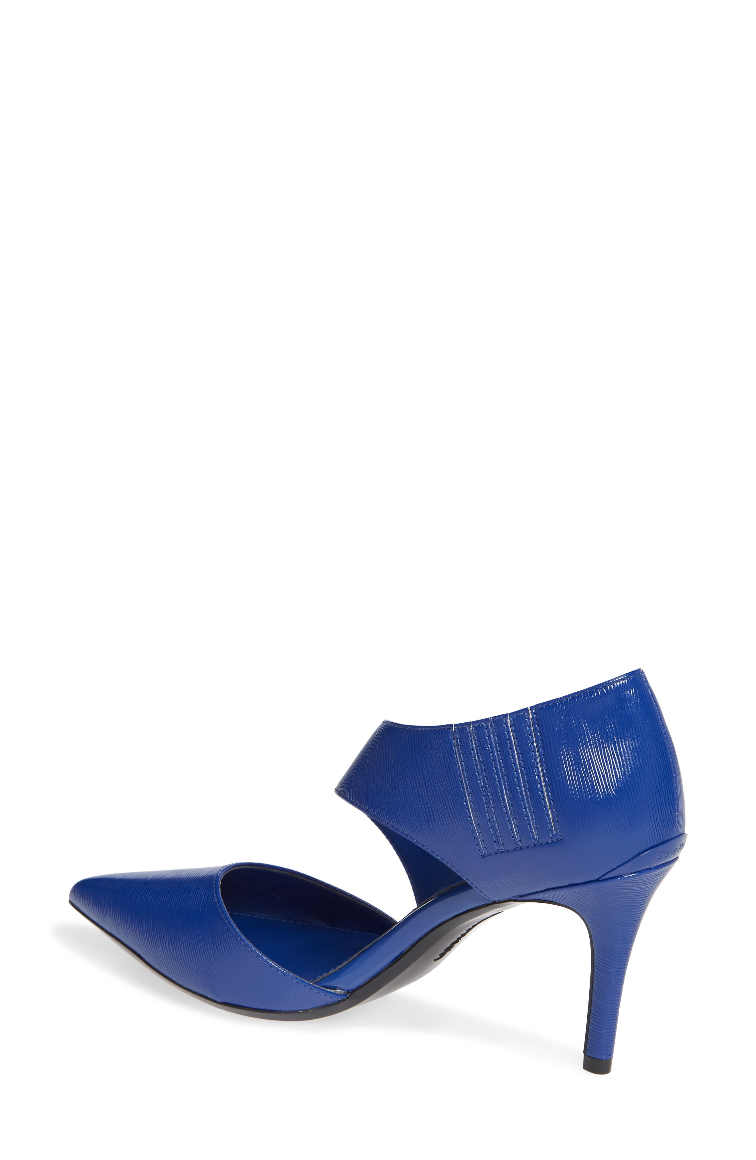 CALVIN KLEIN, 'Gella' Pointy Toe Pump, Alternate thumbnail 2, color, ROYAL BLUE PATENT LEATHER