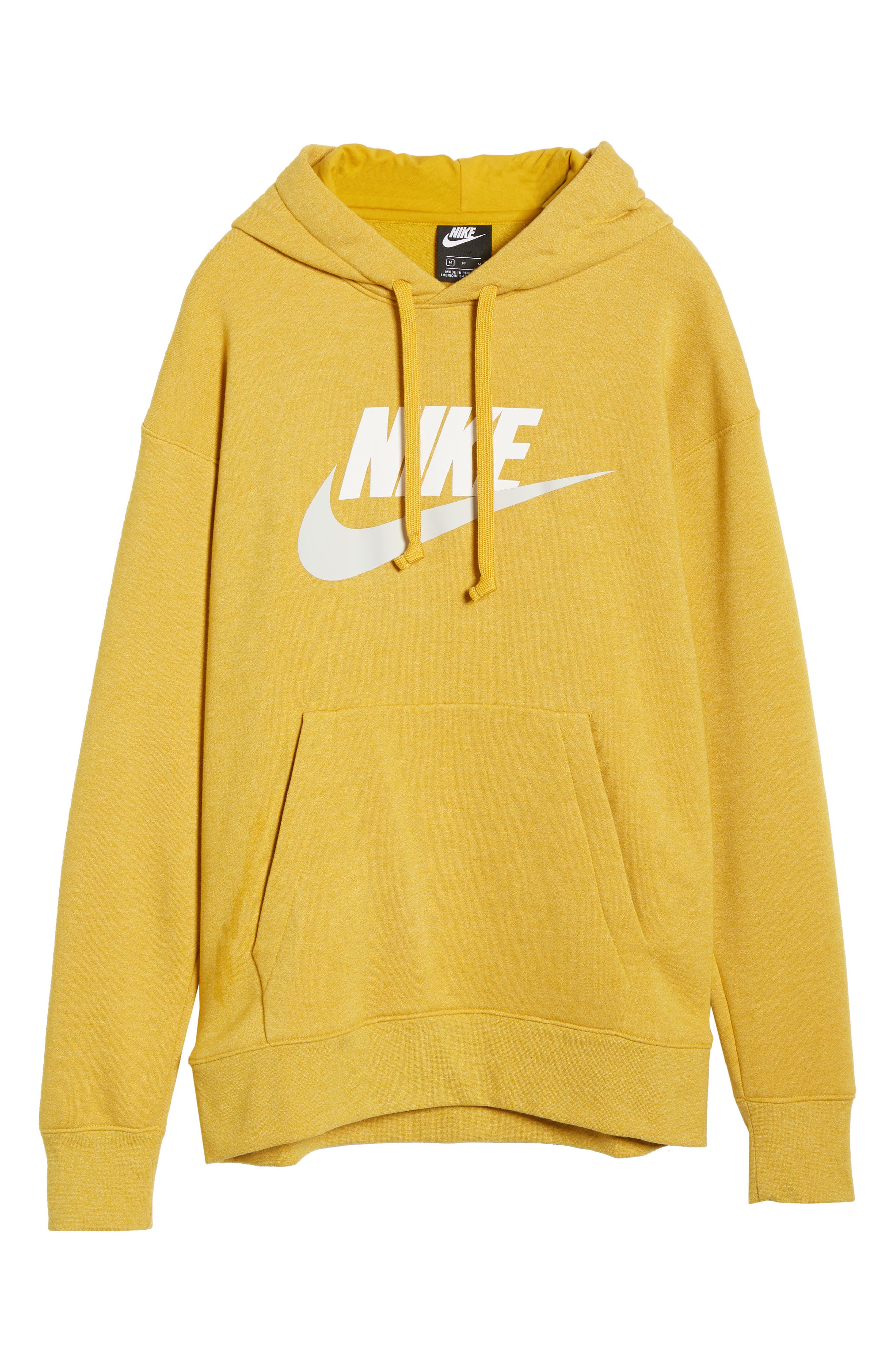 NIKE, Heritage Logo Hoodie, Alternate thumbnail 6, color, GOLD DART/ HEATHER