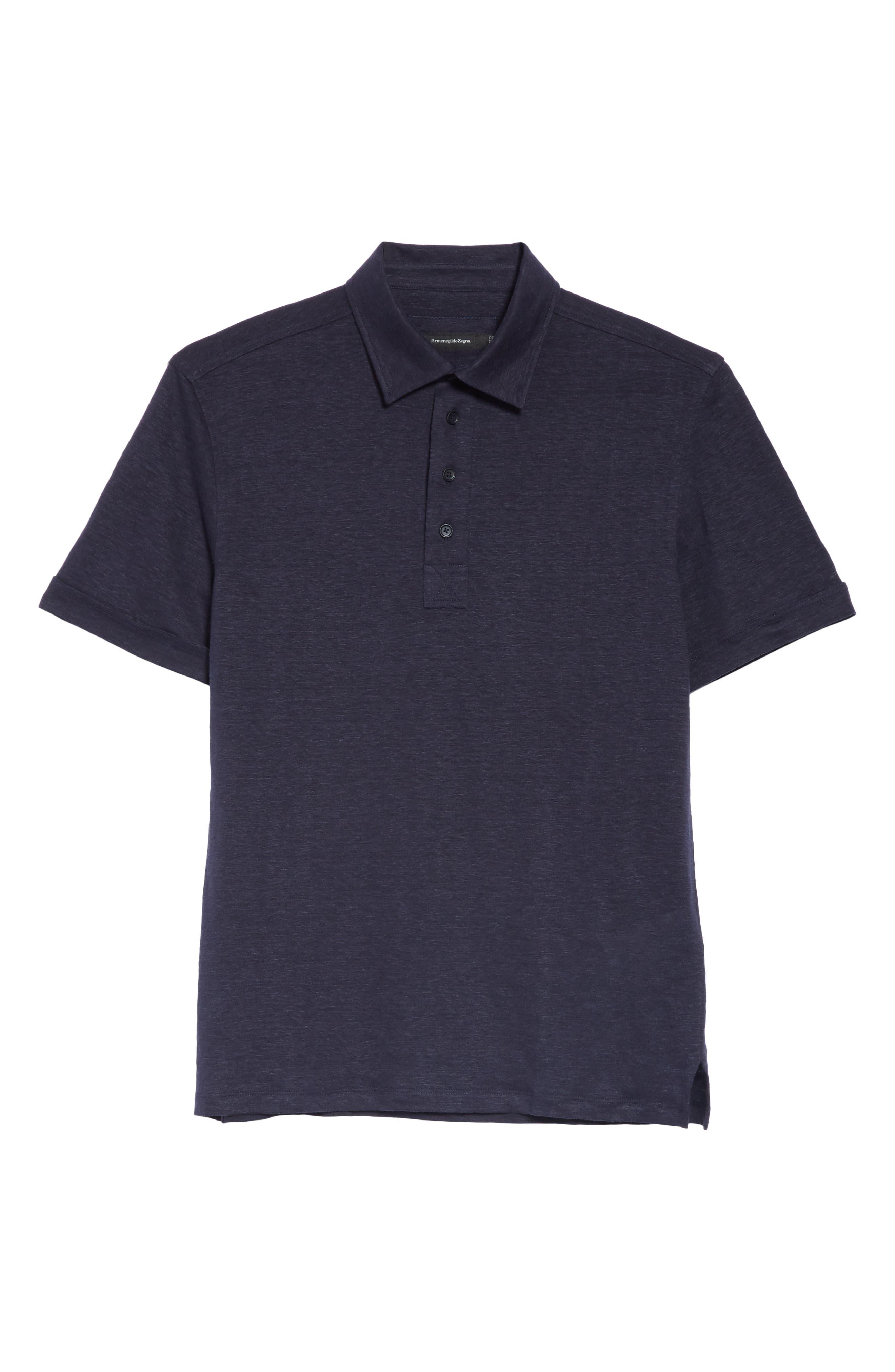 ERMENEGILDO ZEGNA, Ermenegilda Zegna Linen Polo Shirt, Alternate thumbnail 6, color, NAVY