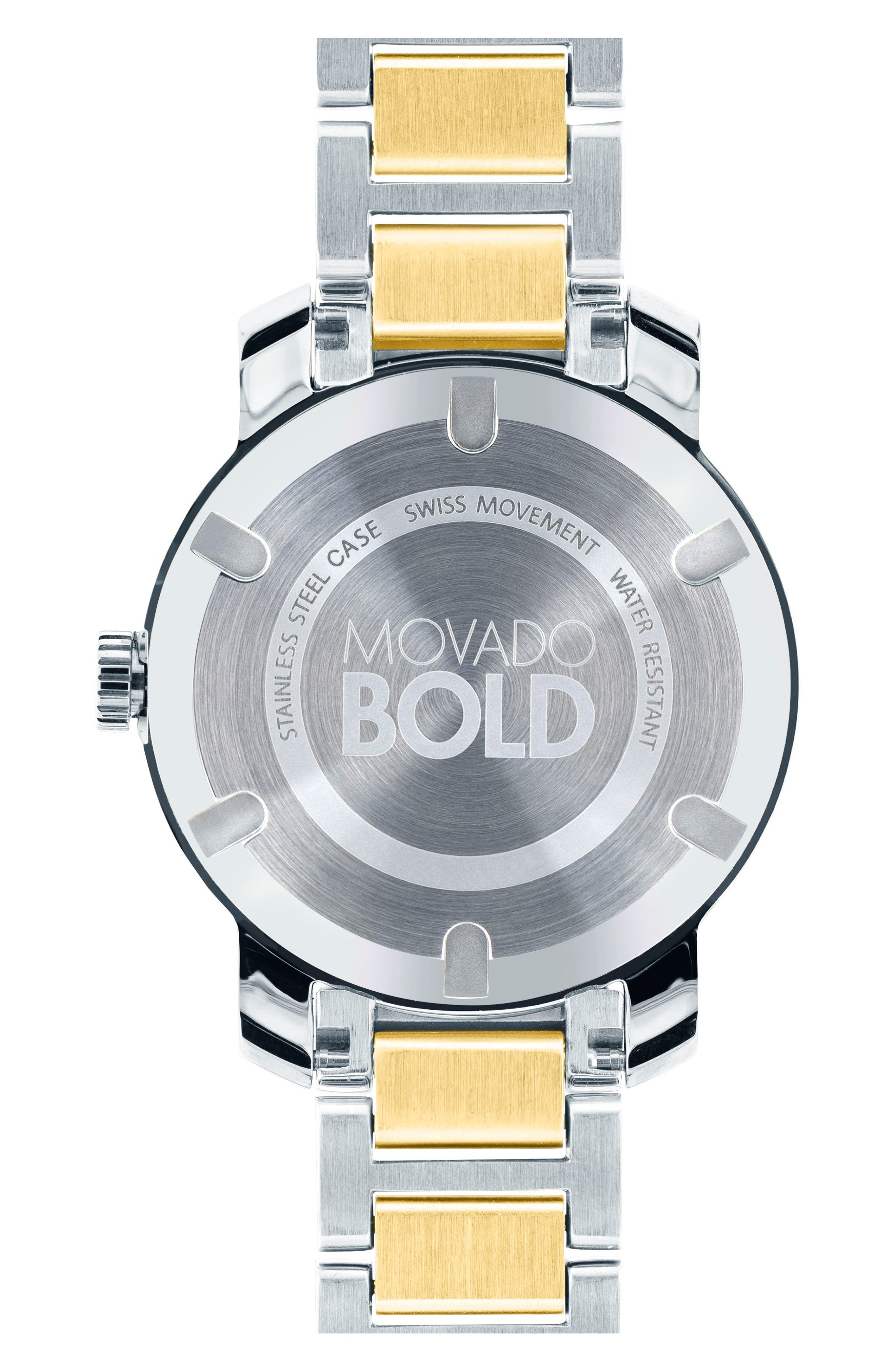 MOVADO, 'Bold' Two-Tone Bracelet Watch, 32mm, Alternate thumbnail 2, color, SILVER/ GOLD