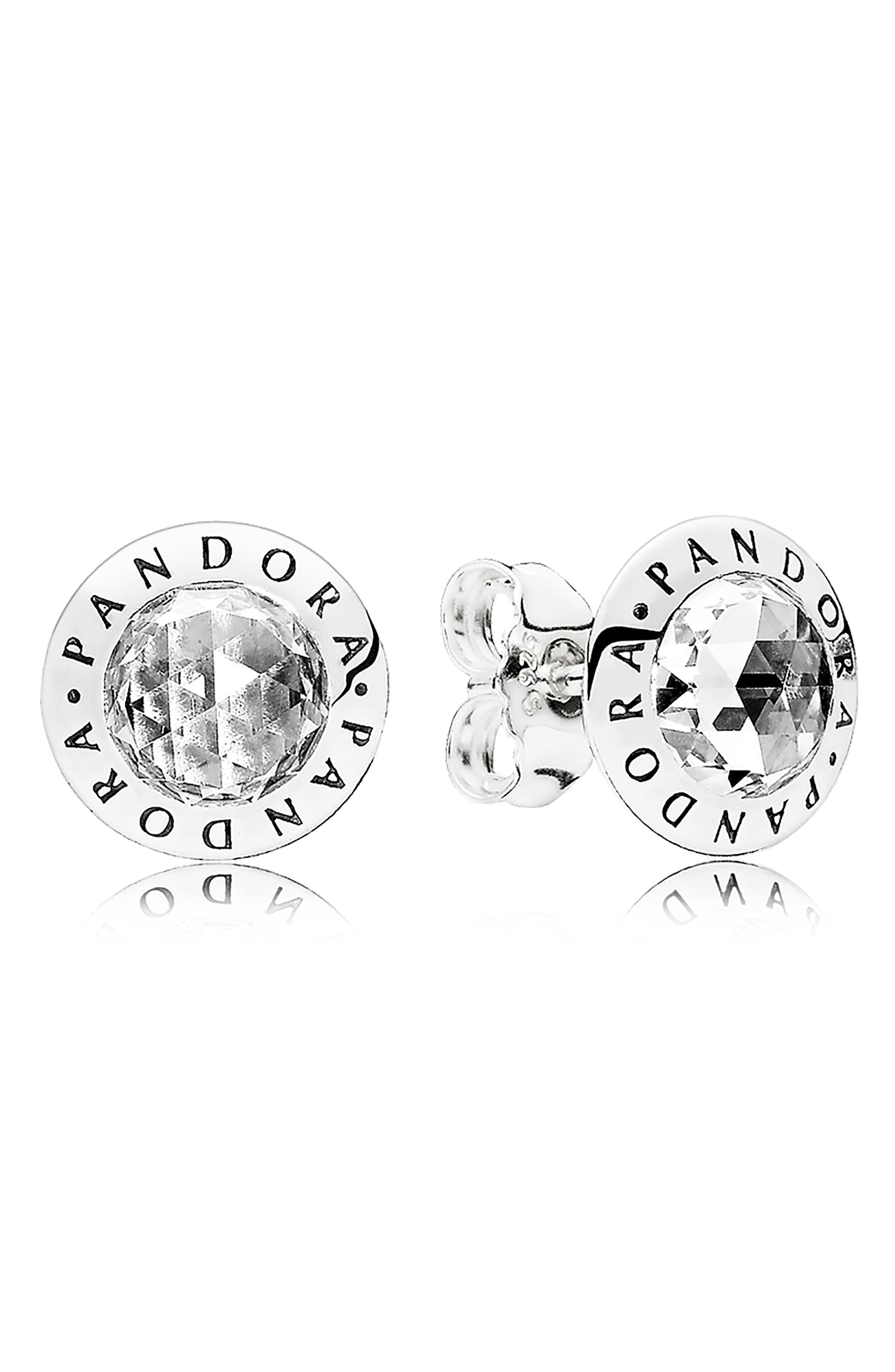 PANDORA Radiant Logo Stud Earrings, Main, color, SILVER