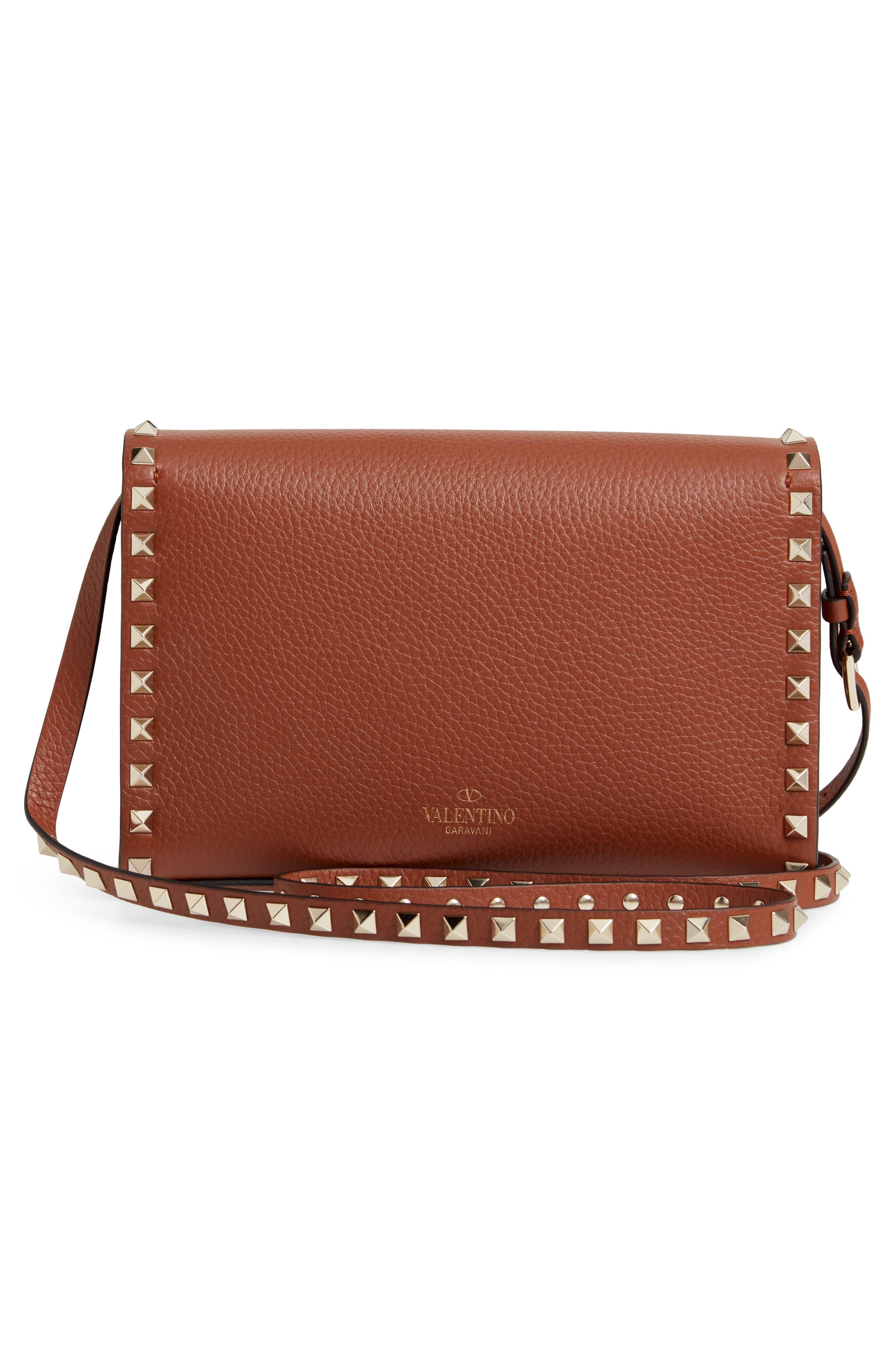 VALENTINO GARAVANI, Medium Rockstud Leather Crossbody Bag, Alternate thumbnail 3, color, BRIGHT COGNAC