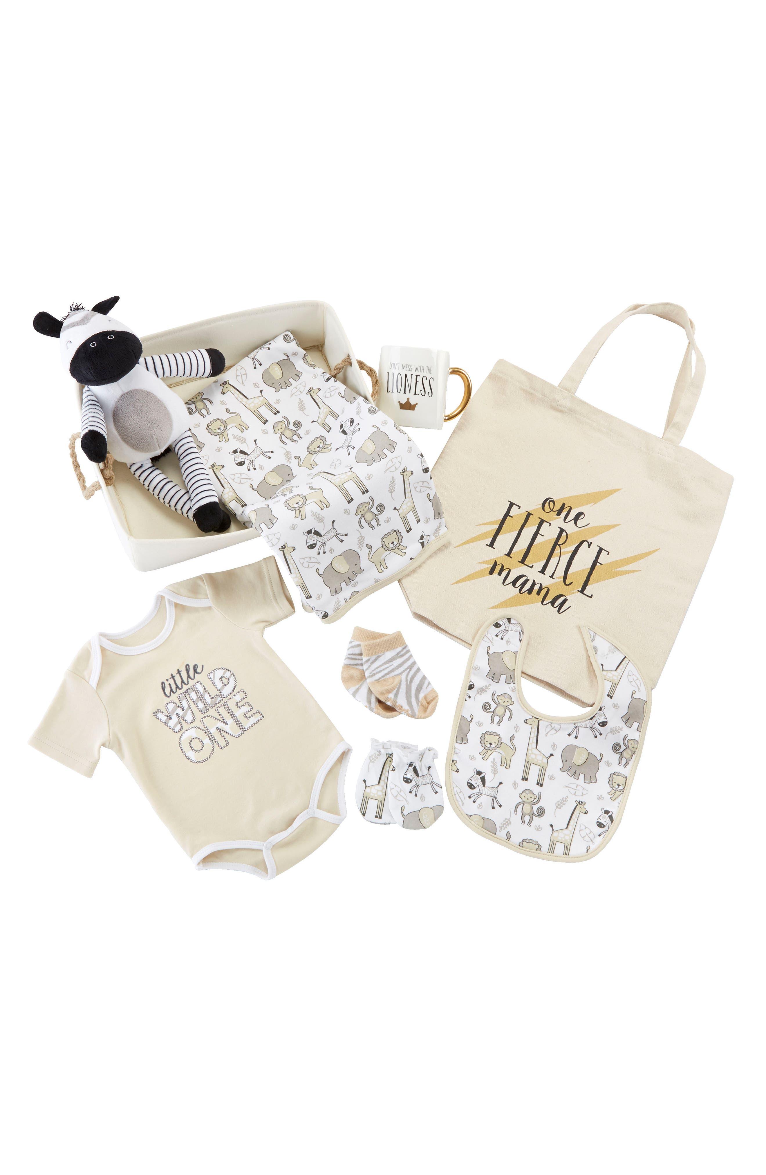 BABY ASPEN, Safari 9-Piece Baby Gift Set, Main thumbnail 1, color, BEIGE