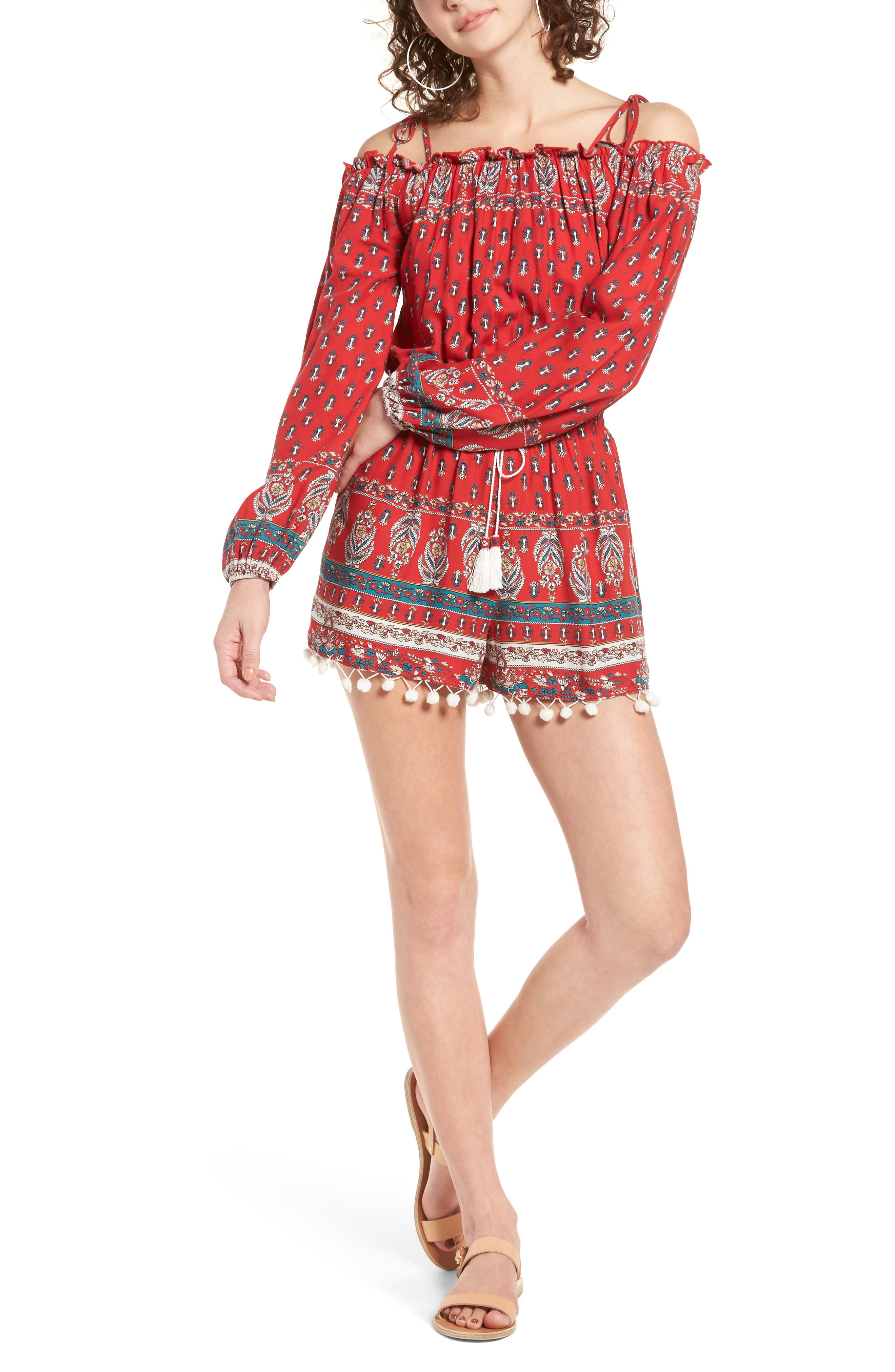 BAND OF GYPSIES, Print Pompom Cold Shoulder Romper, Main thumbnail 1, color, 600