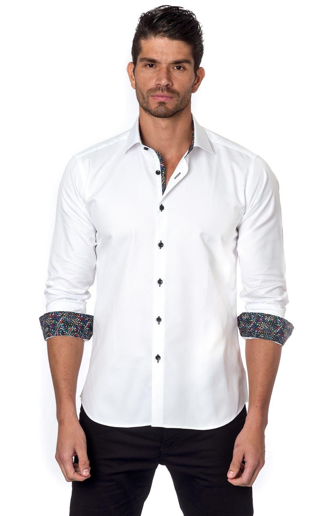 JARED LANG, Trim Fit Sport Shirt, Alternate thumbnail 3, color, 100