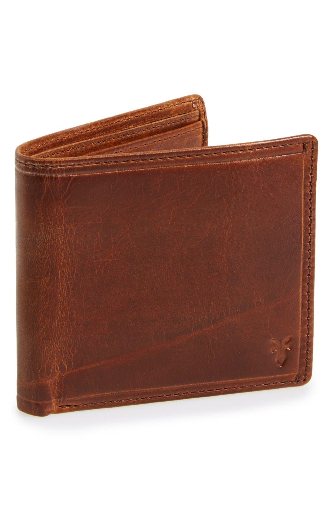 FRYE 'Logan' Leather Billfold Wallet, Main, color, COGNAC