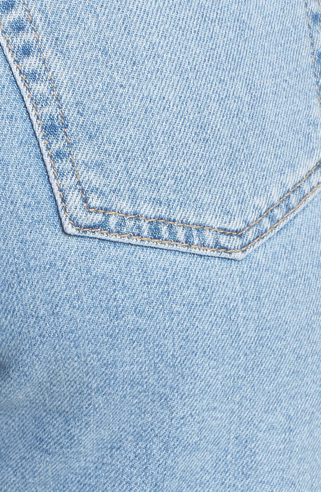 TOPSHOP, Raw Hem Straight Leg Jeans, Alternate thumbnail 6, color, BLEACH STONE DENIM