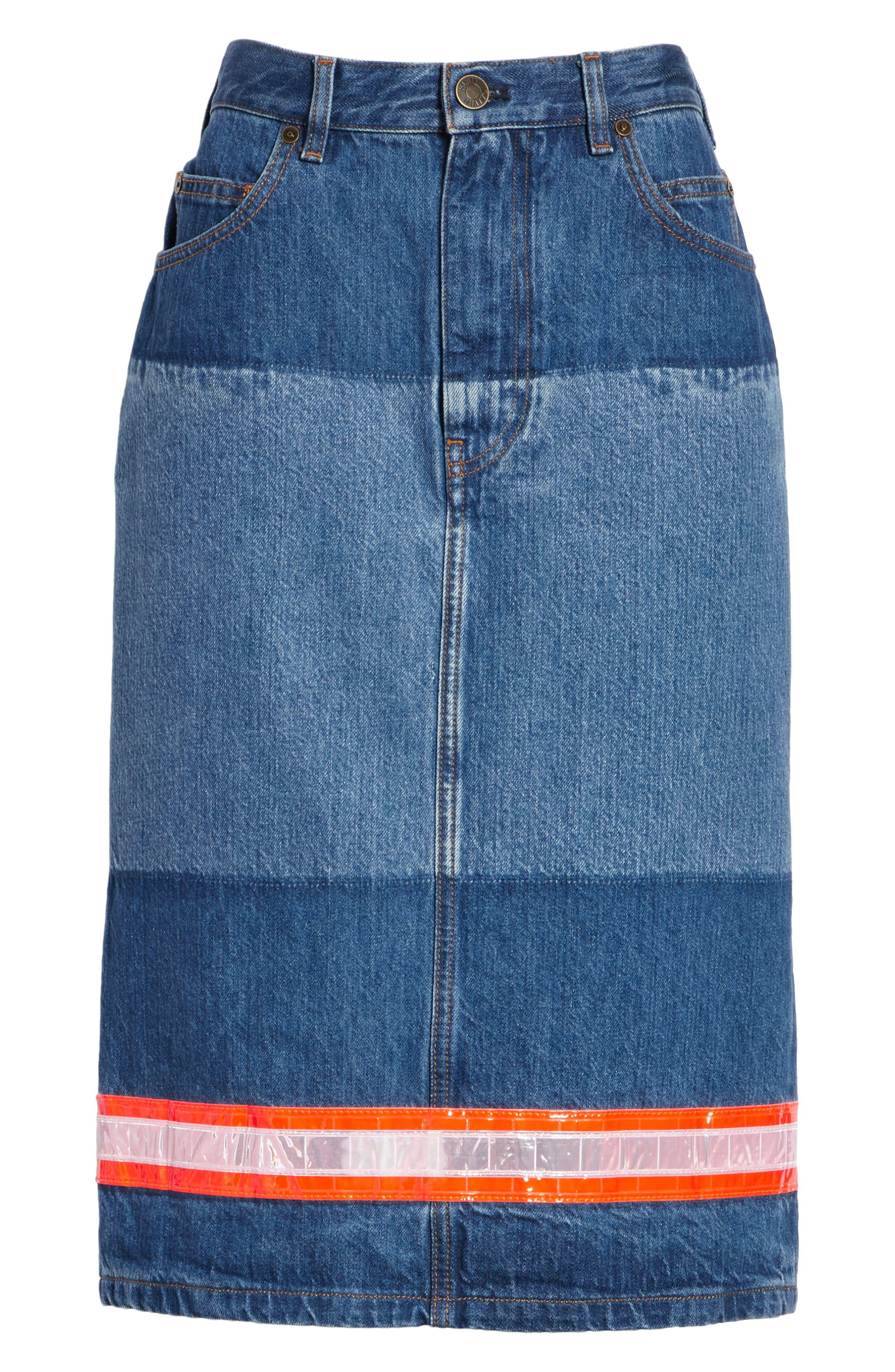 CALVIN KLEIN 205W39NYC, Reflective Stripe Mixed Wash Denim Skirt, Alternate thumbnail 6, color, BLUE