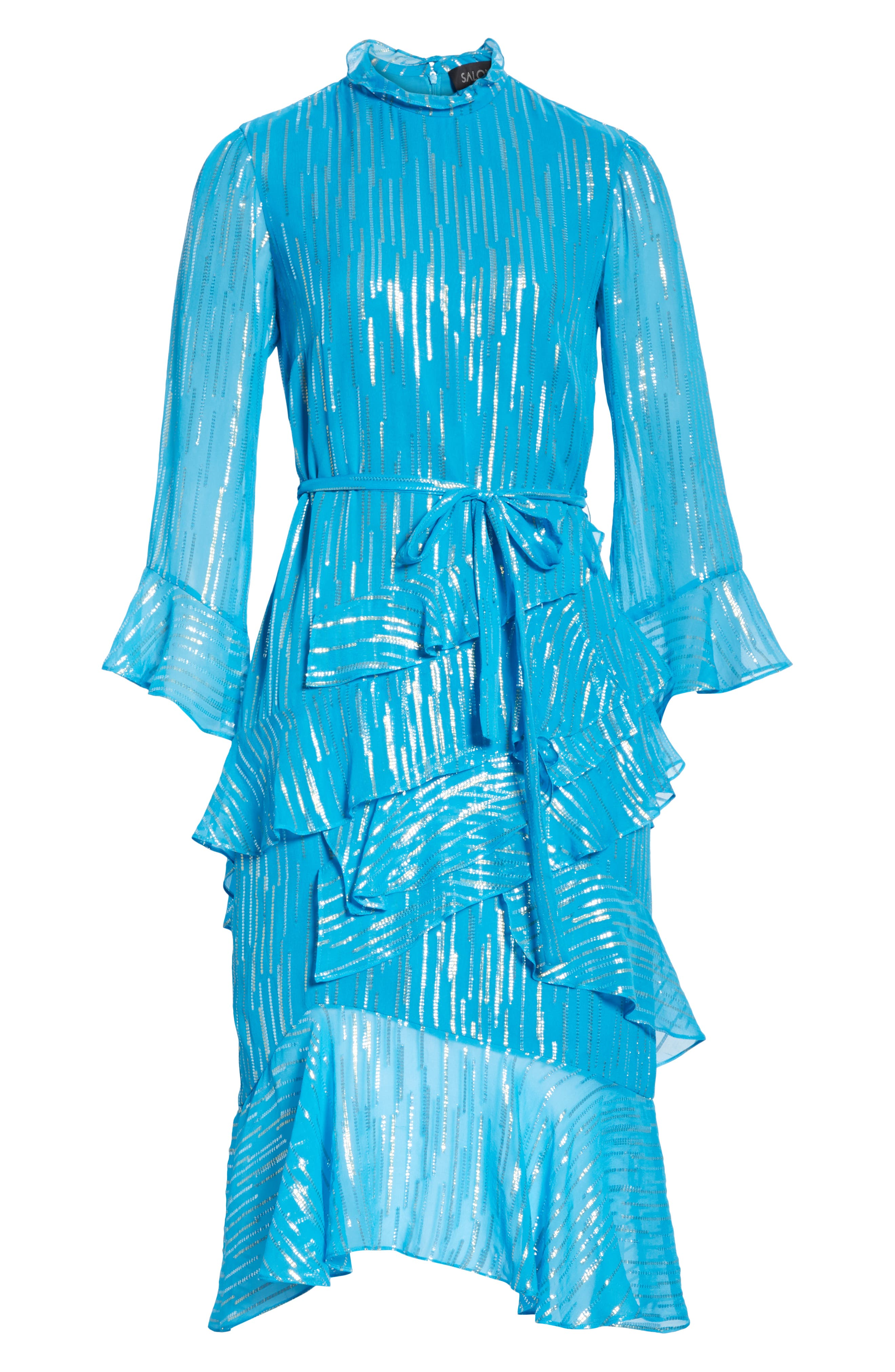 SALONI, Marissa Metallic Ruffle Dress, Alternate thumbnail 7, color, TURQUOISE/ METALLIC