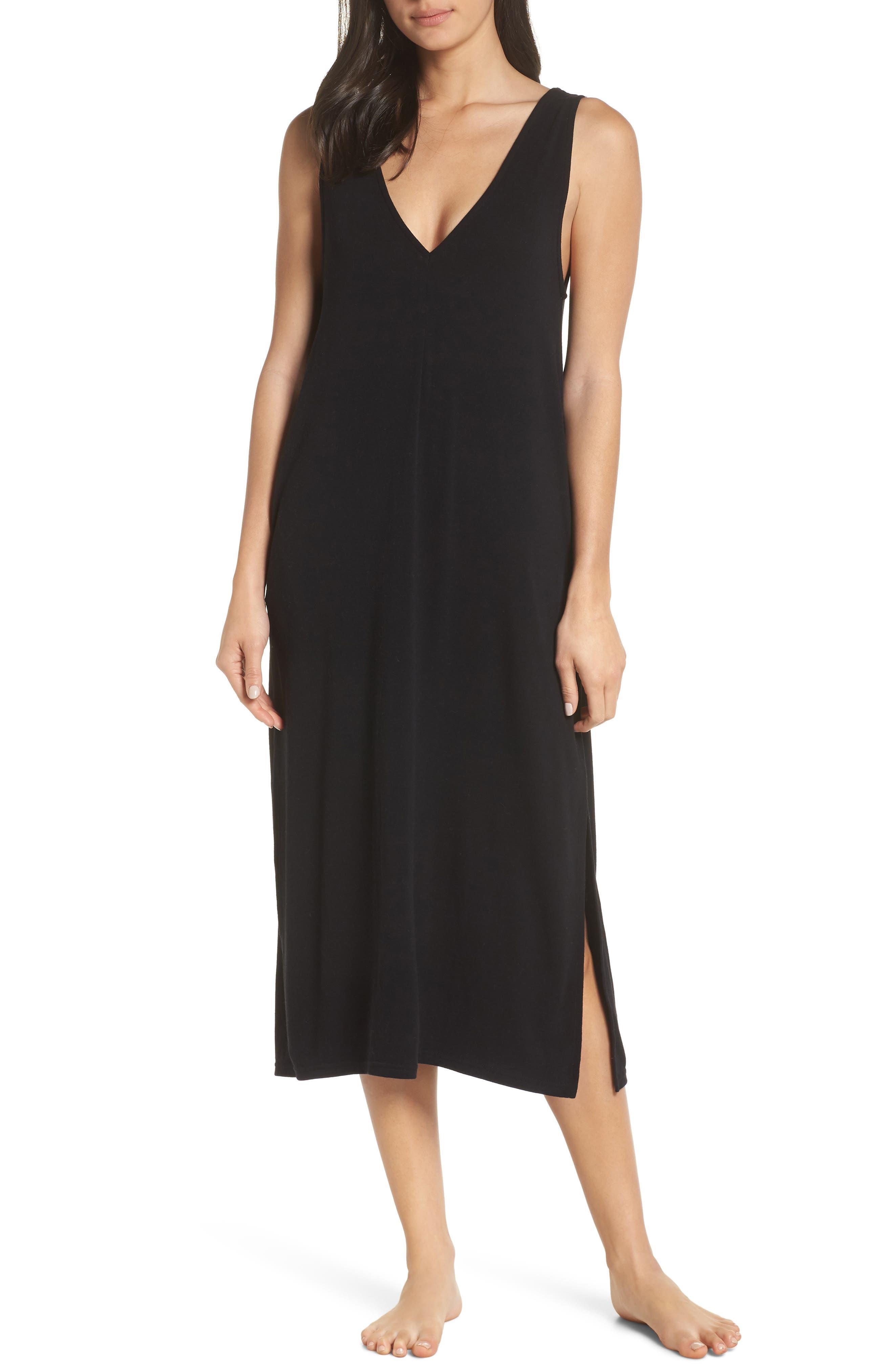 SOMETHING NAVY Midi Nightgown, Main, color, BLACK