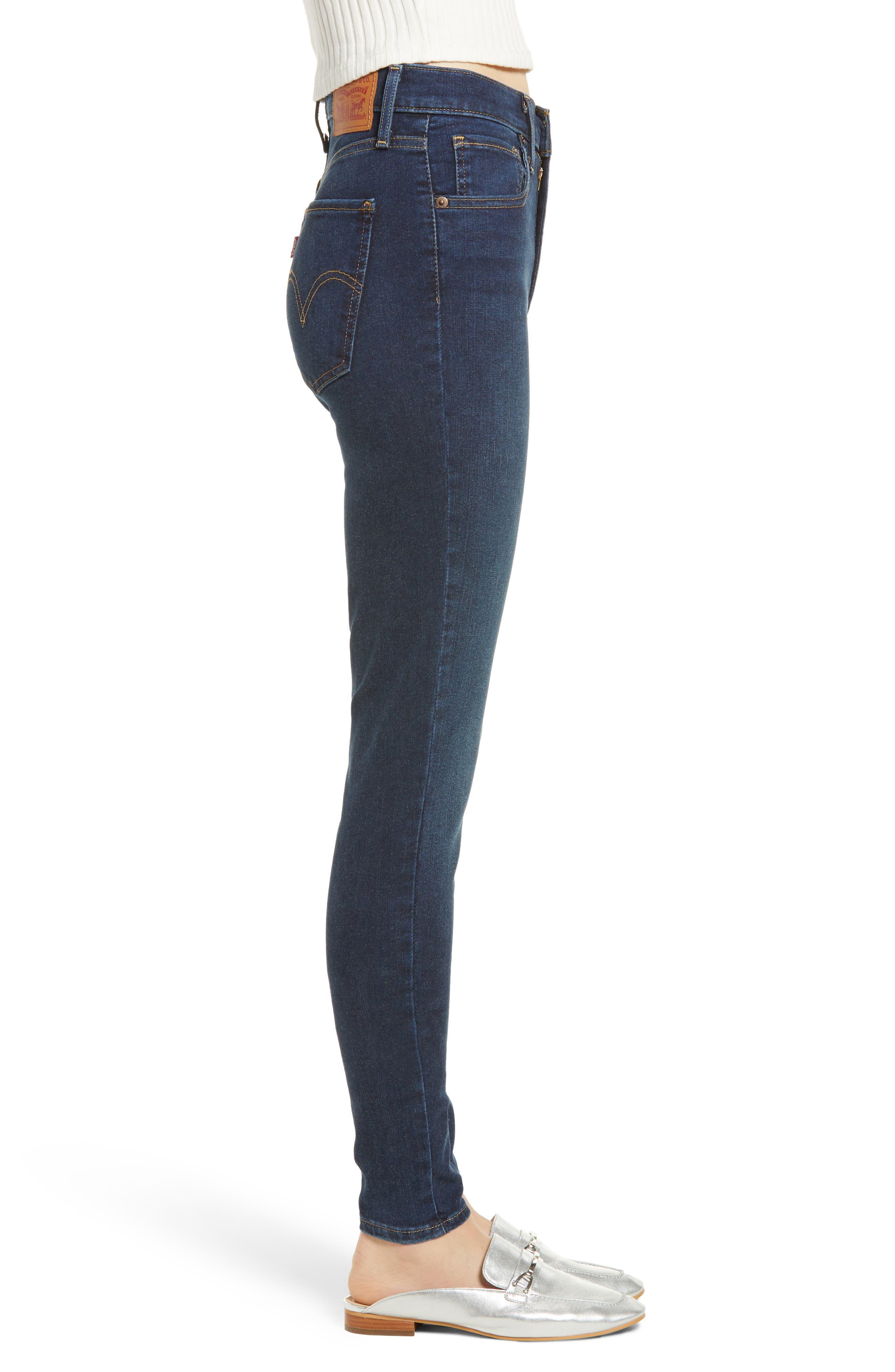 LEVI'S<SUP>®</SUP>, Mile High Super Skinny Jeans, Alternate thumbnail 4, color, JET SETTER