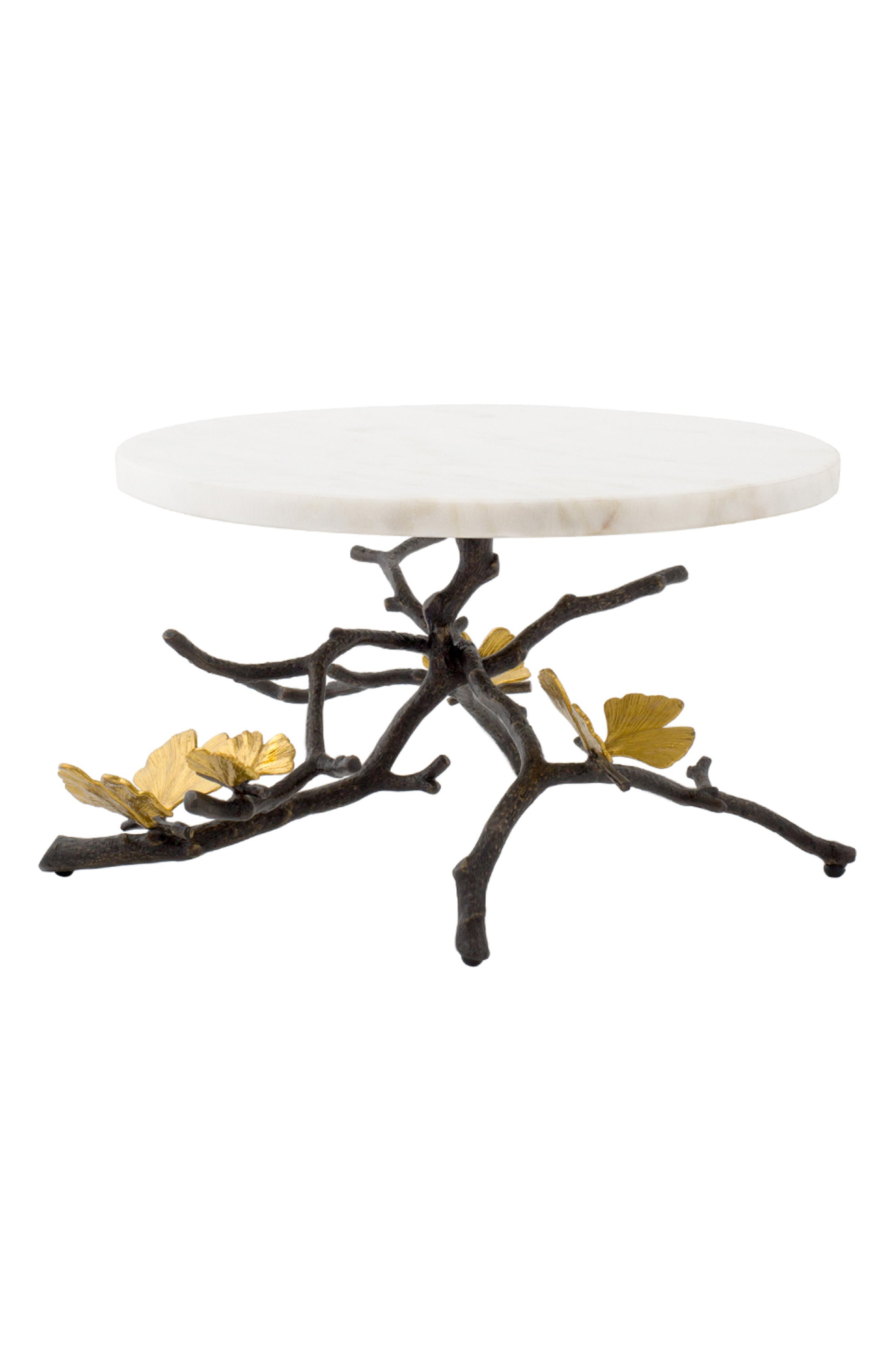 MICHAEL ARAM Butterfly Ginkgo Cake Stand, Main, color, SILVER