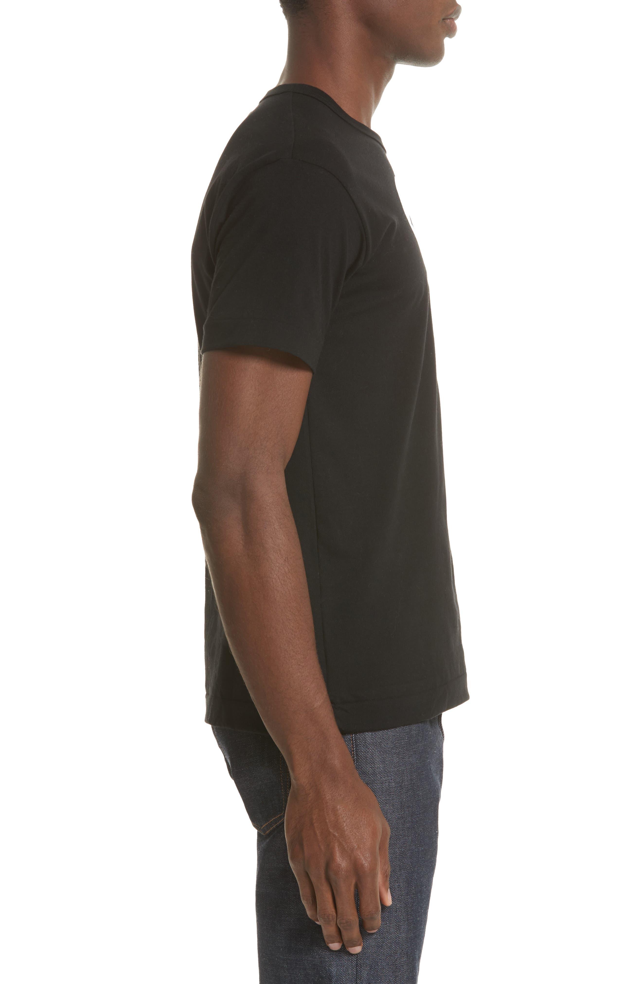 COMME DES GARÇONS PLAY, X-Ray Heart Logo T-Shirt, Alternate thumbnail 3, color, BLACK 1