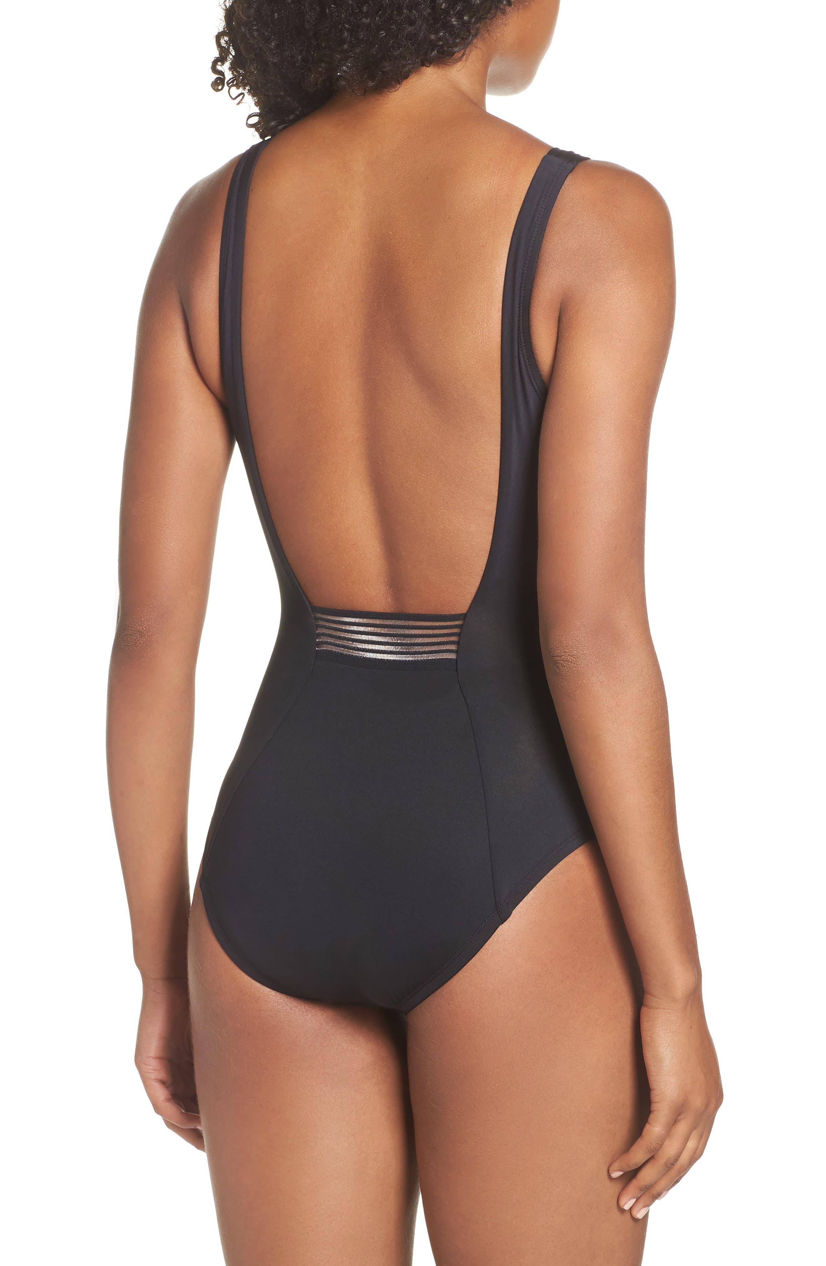 NIKE, U-Back One-Piece Swimsuit, Alternate thumbnail 2, color, BLACK