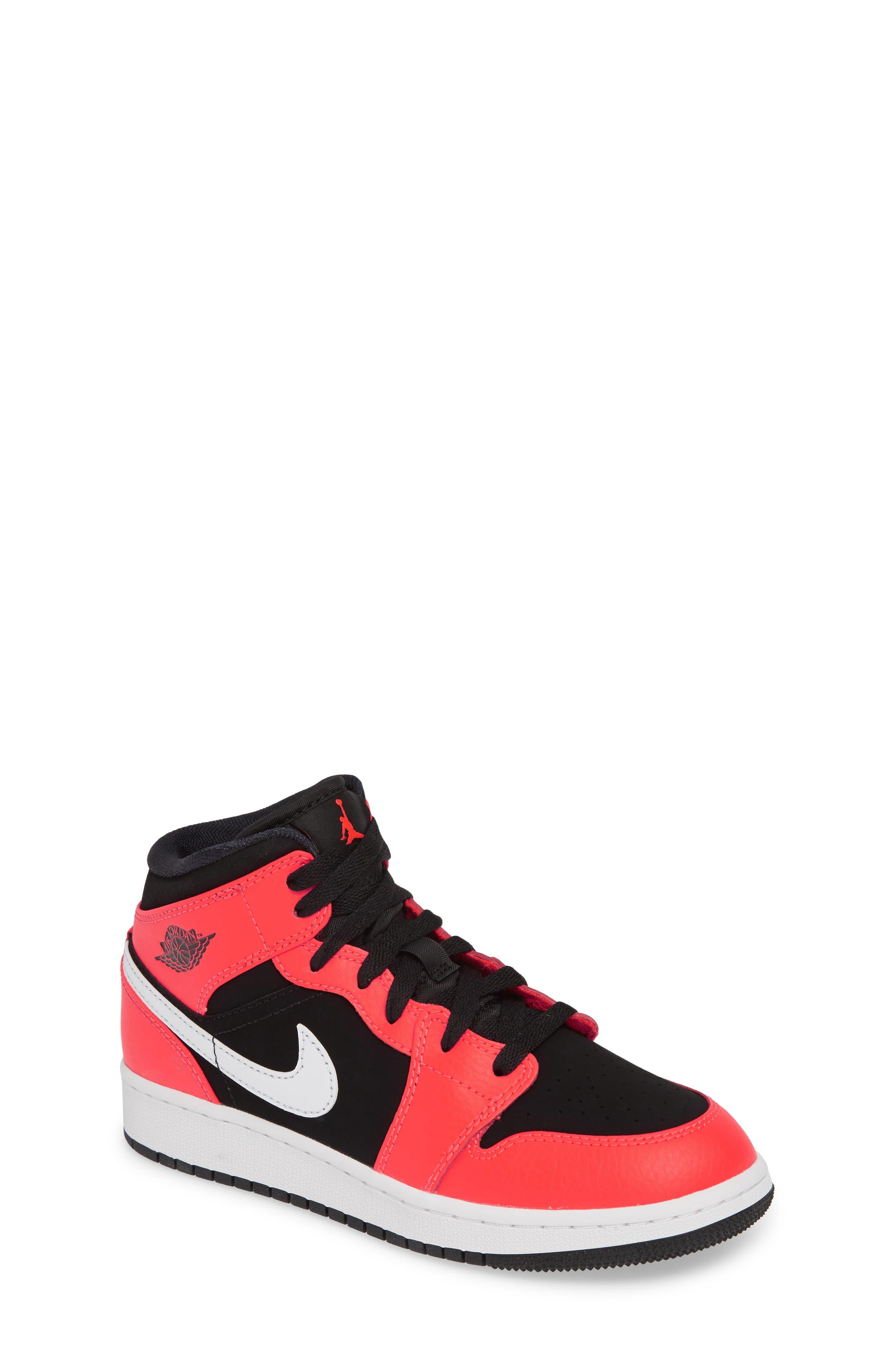 JORDAN, Nike 'Air Jordan 1 Mid' Sneaker, Main thumbnail 1, color, BLACK/ INFRARED 23-WHITE