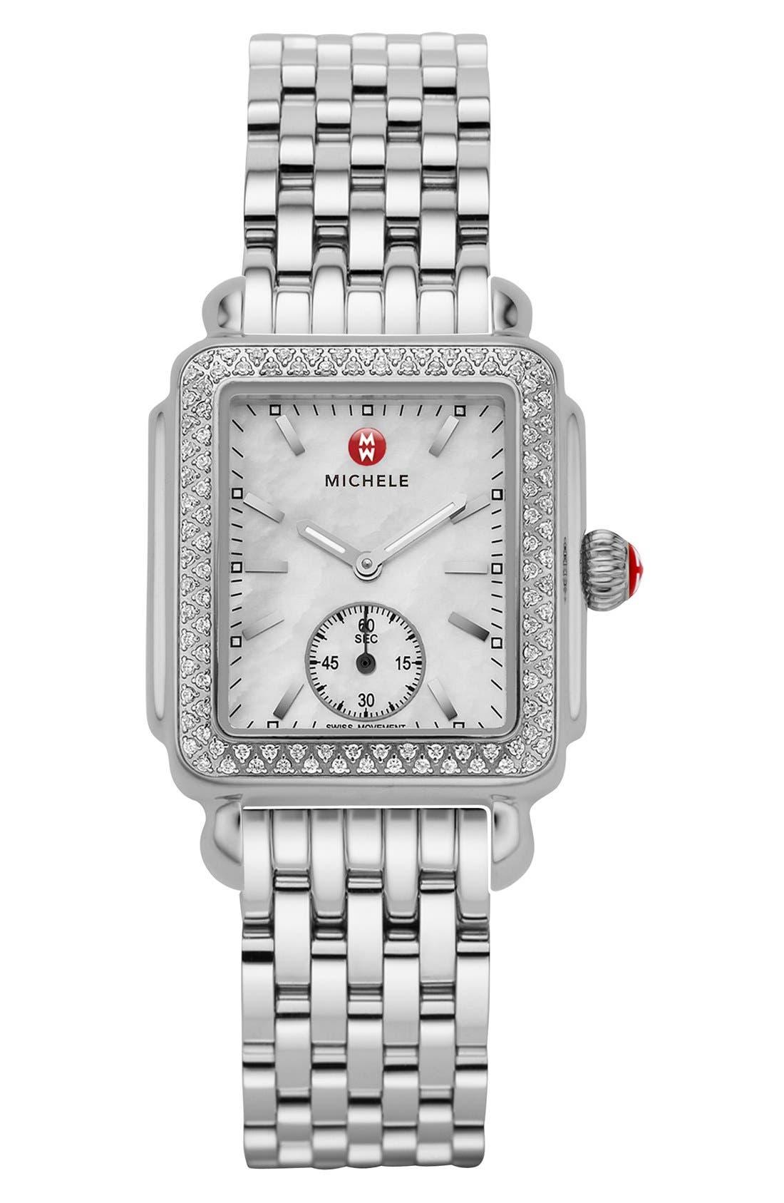 MICHELE, Deco 16 Diamond Watch Head, 29mm x 31mm, Alternate thumbnail 4, color, SILVER
