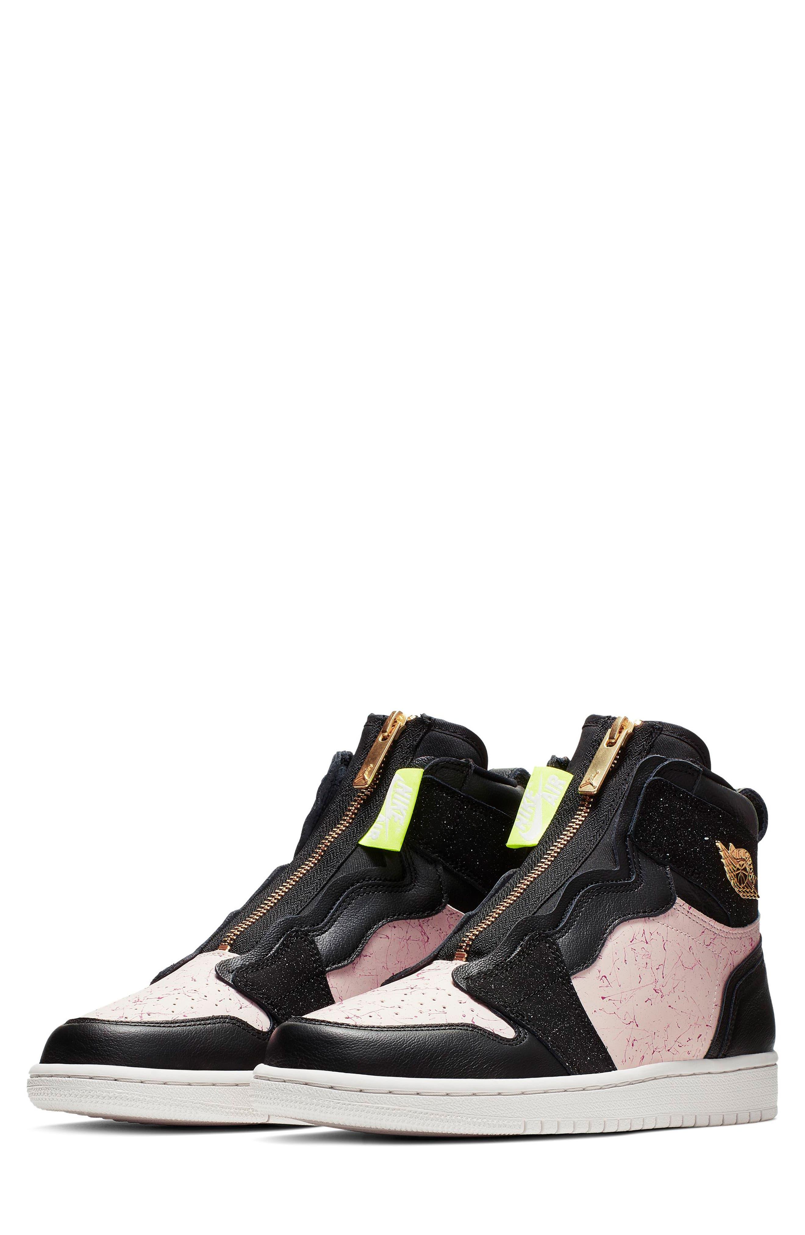 NIKE, Air Jordan 1 Zip High Top Sneakers, Main thumbnail 1, color, BLACK/ GOLD/ PHANTOM/ RED
