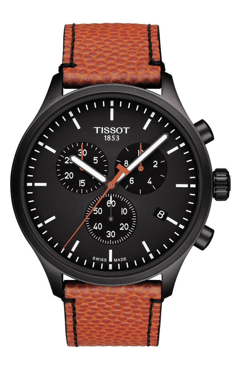 Tissot Watches Chrono XL NBA Leather Strap Watch, 45mm