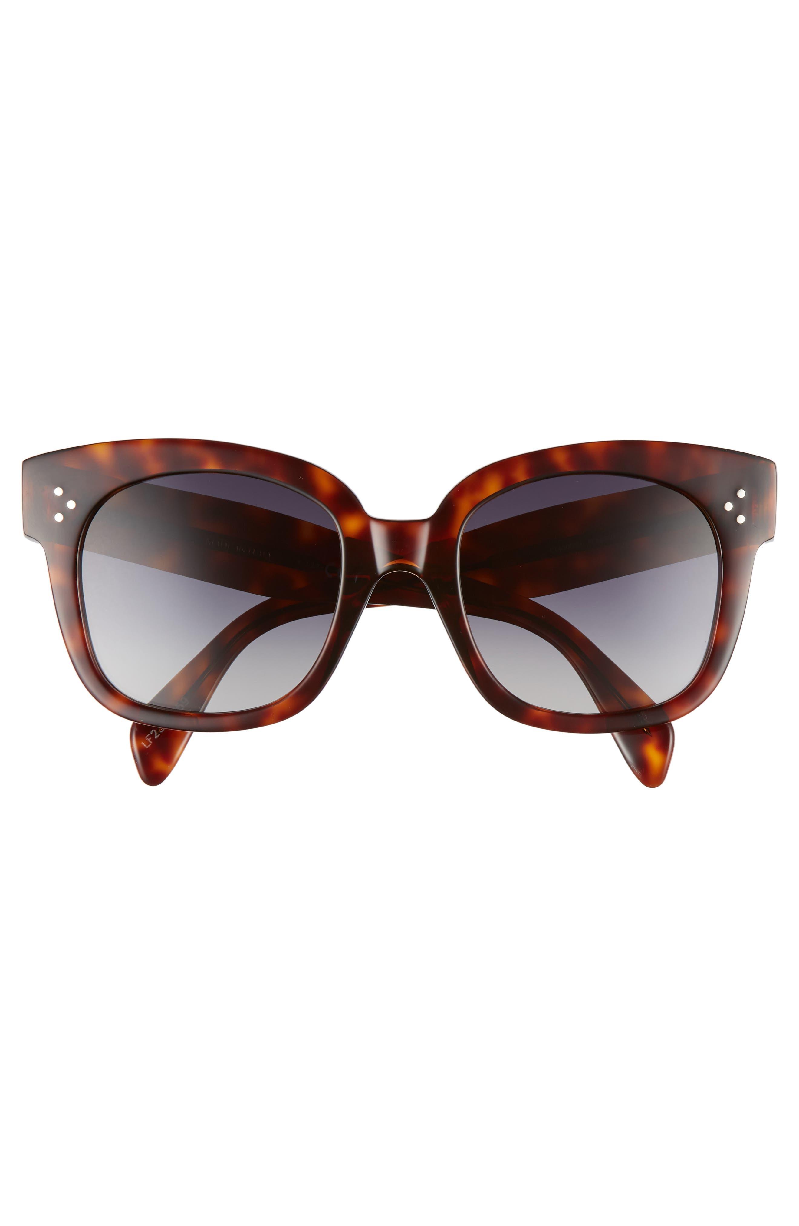 CELINE, 54mm Square Sunglasses, Alternate thumbnail 4, color, RED HAVAN/ SMOKE