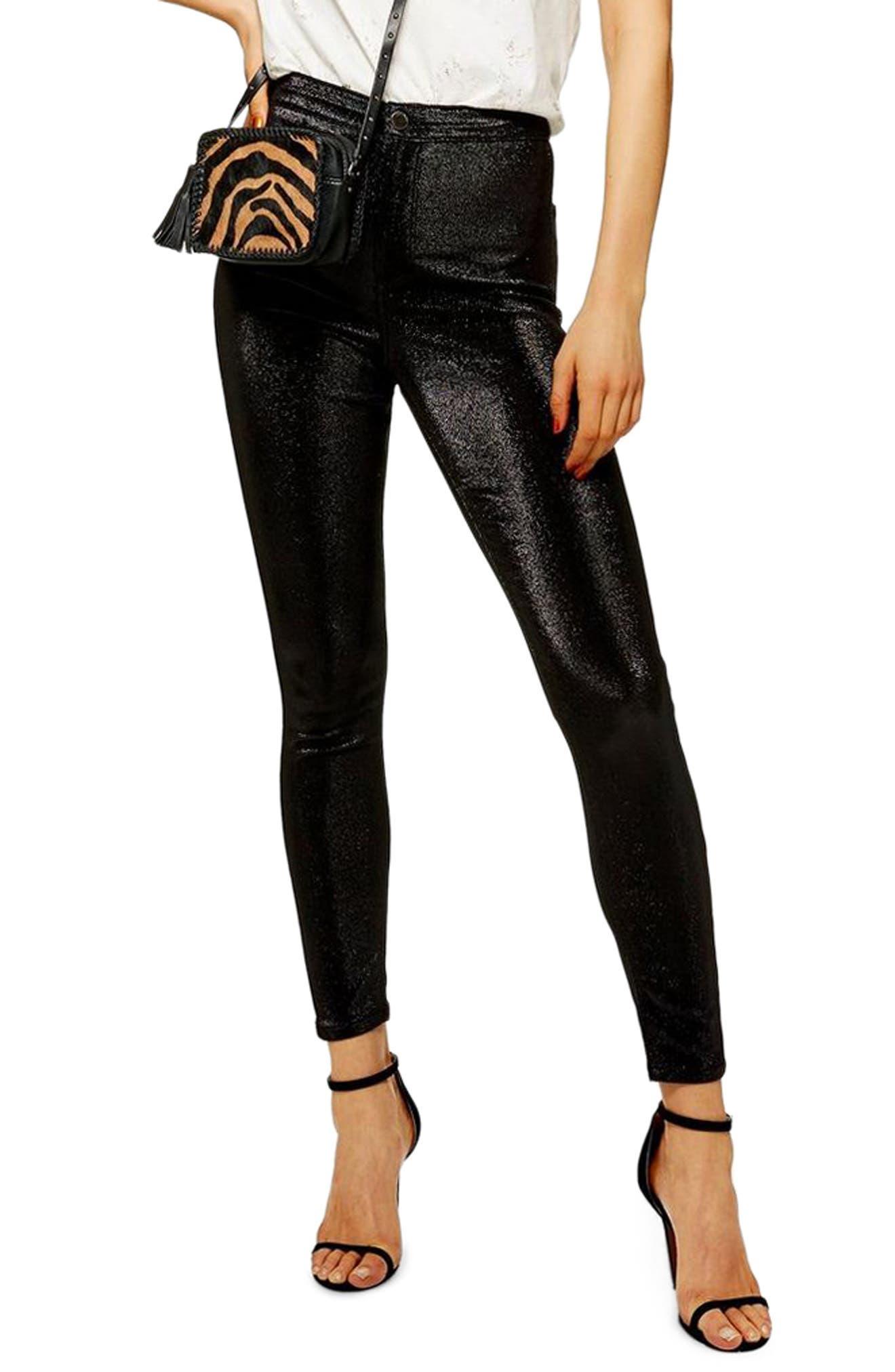 TOPSHOP, Joni Metallic Jeans, Main thumbnail 1, color, 001