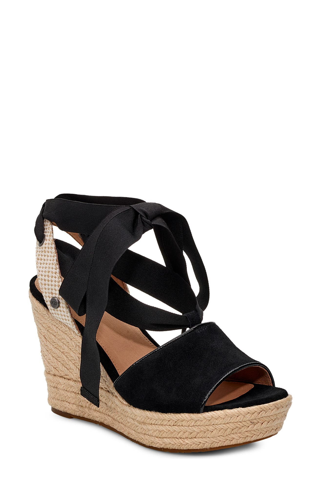 UGG<SUP>®</SUP> Shiloh Wedge Sandal, Main, color, BLACK FABRIC