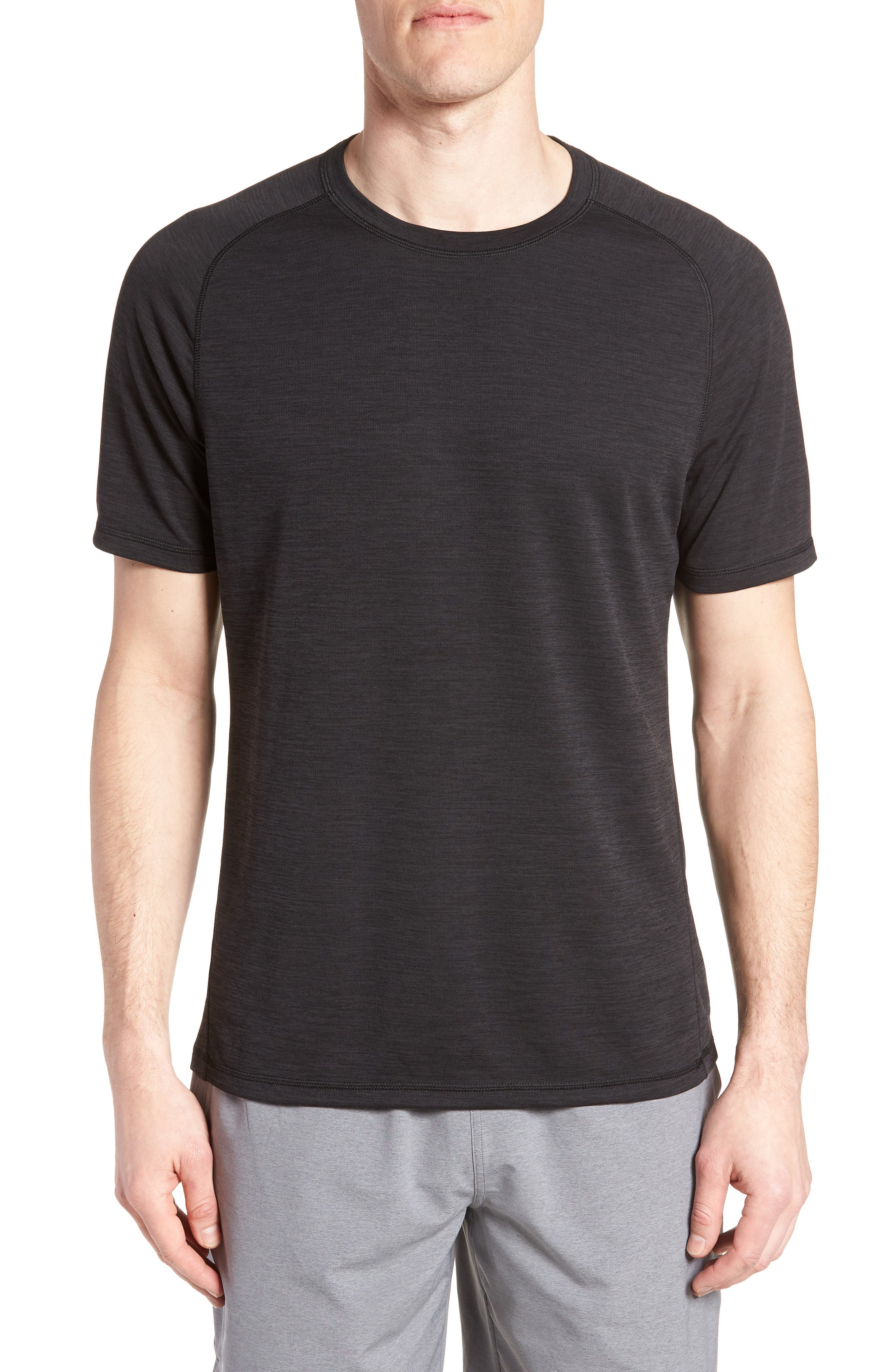 ZELLA Kinoite Raglan Crewneck T-Shirt, Main, color, BLACK OXIDE MELANGE