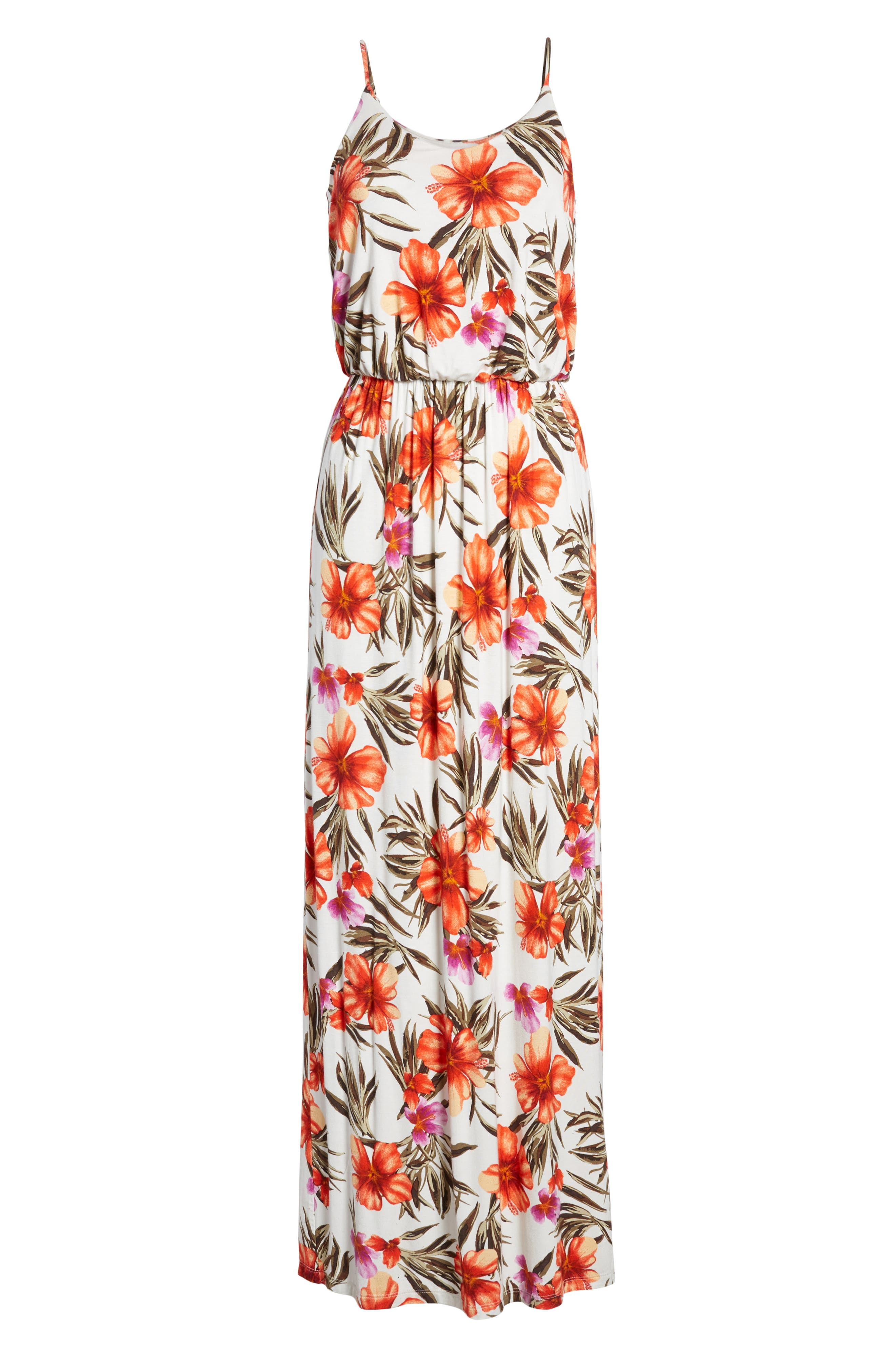 ALL IN FAVOR, Knit Maxi Dress, Alternate thumbnail 7, color, OFF WHITE/HOT CORAL