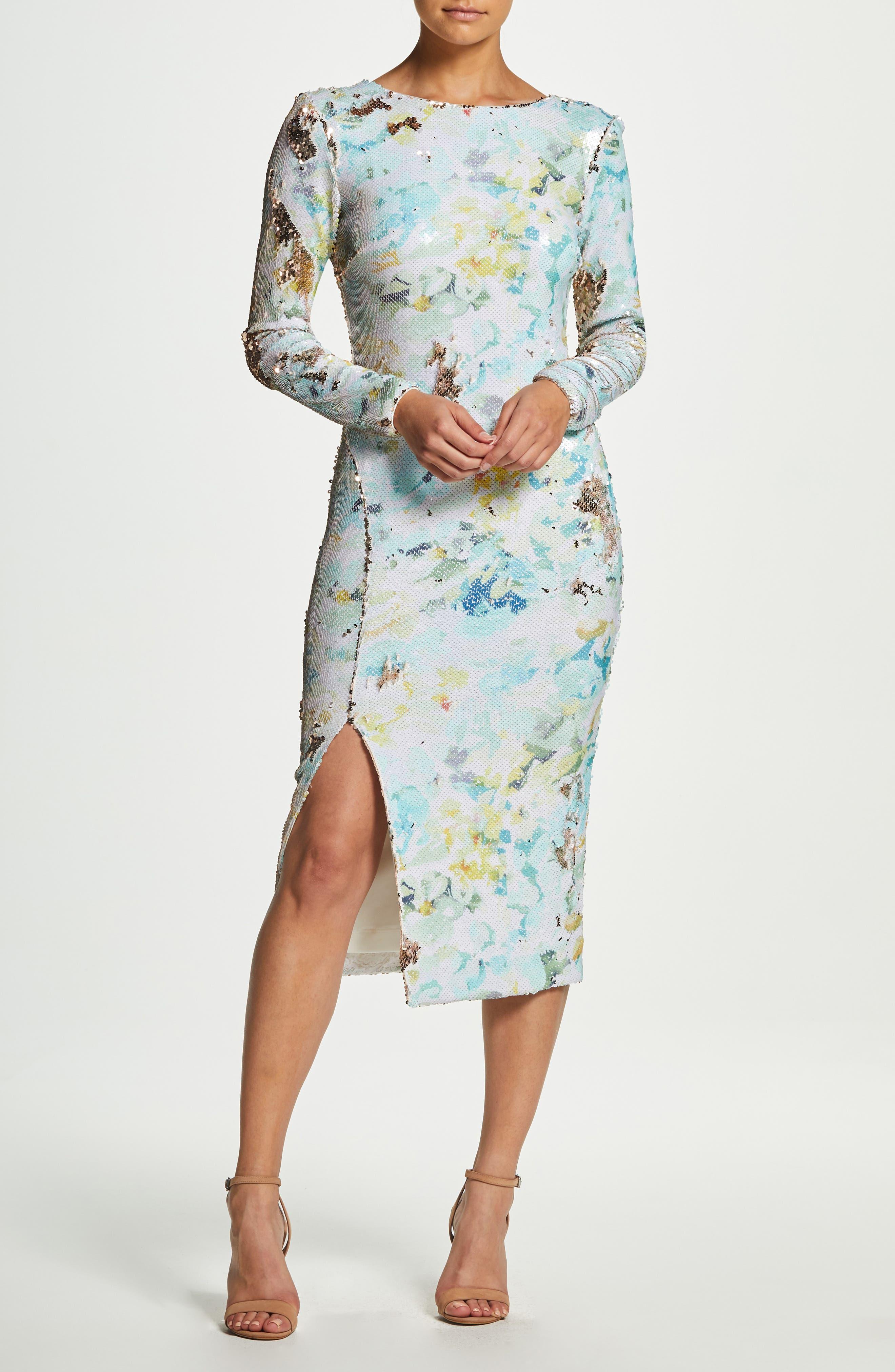 DRESS THE POPULATION, Natalie Scoop Back Sequin Dress, Alternate thumbnail 9, color, IVORY/ SAGE/ GOLD