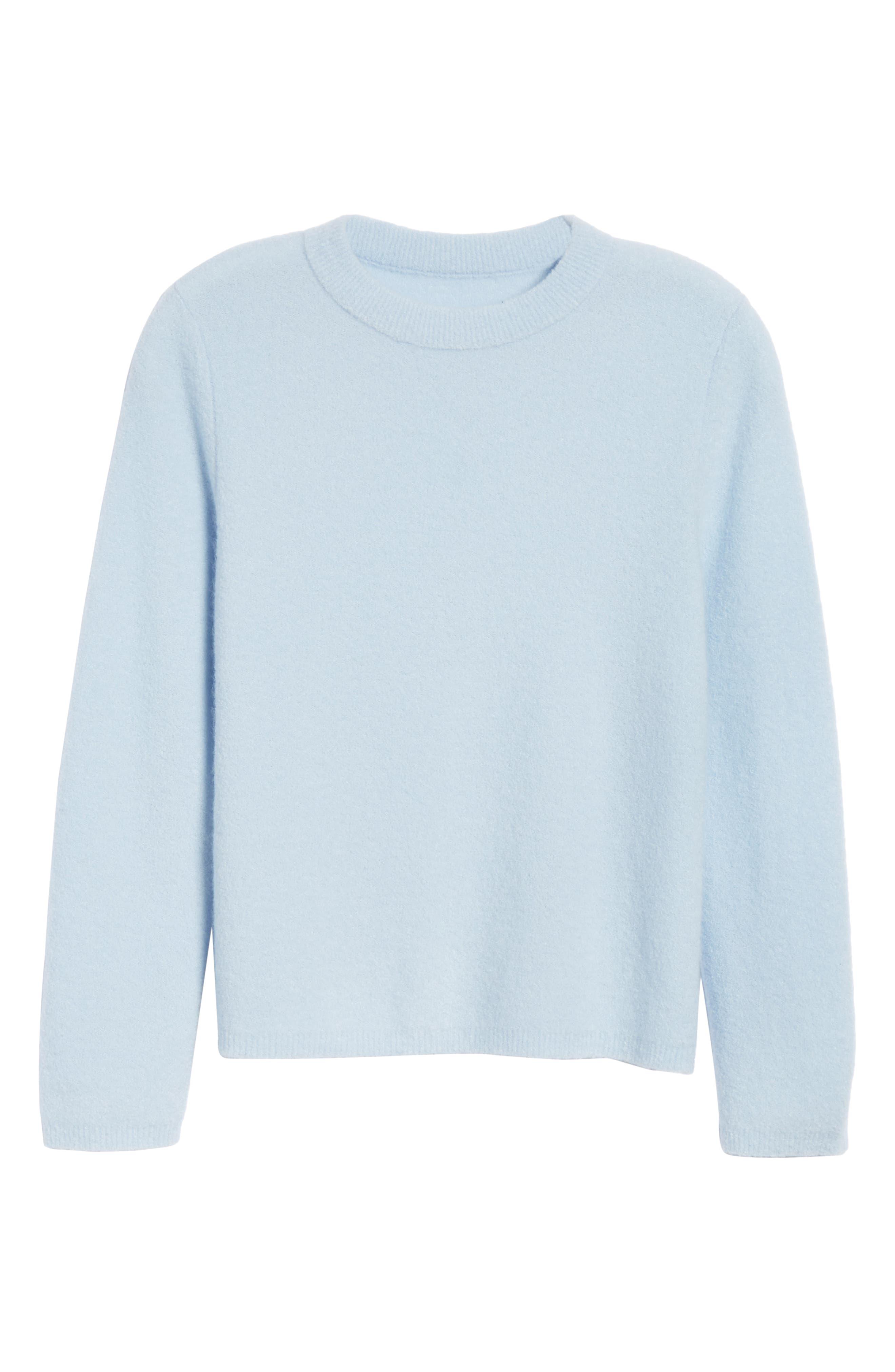 NORDSTROM SIGNATURE, Cashmere Blend Bouclé Sweater, Alternate thumbnail 6, color, BLUE CASHMERE
