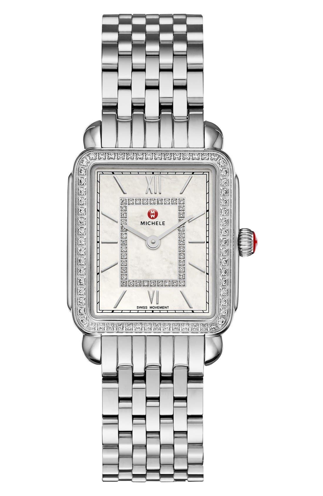 MICHELE, Deco II Diamond Dial Watch Case, 26mm x 28mm, Alternate thumbnail 3, color, SILVER