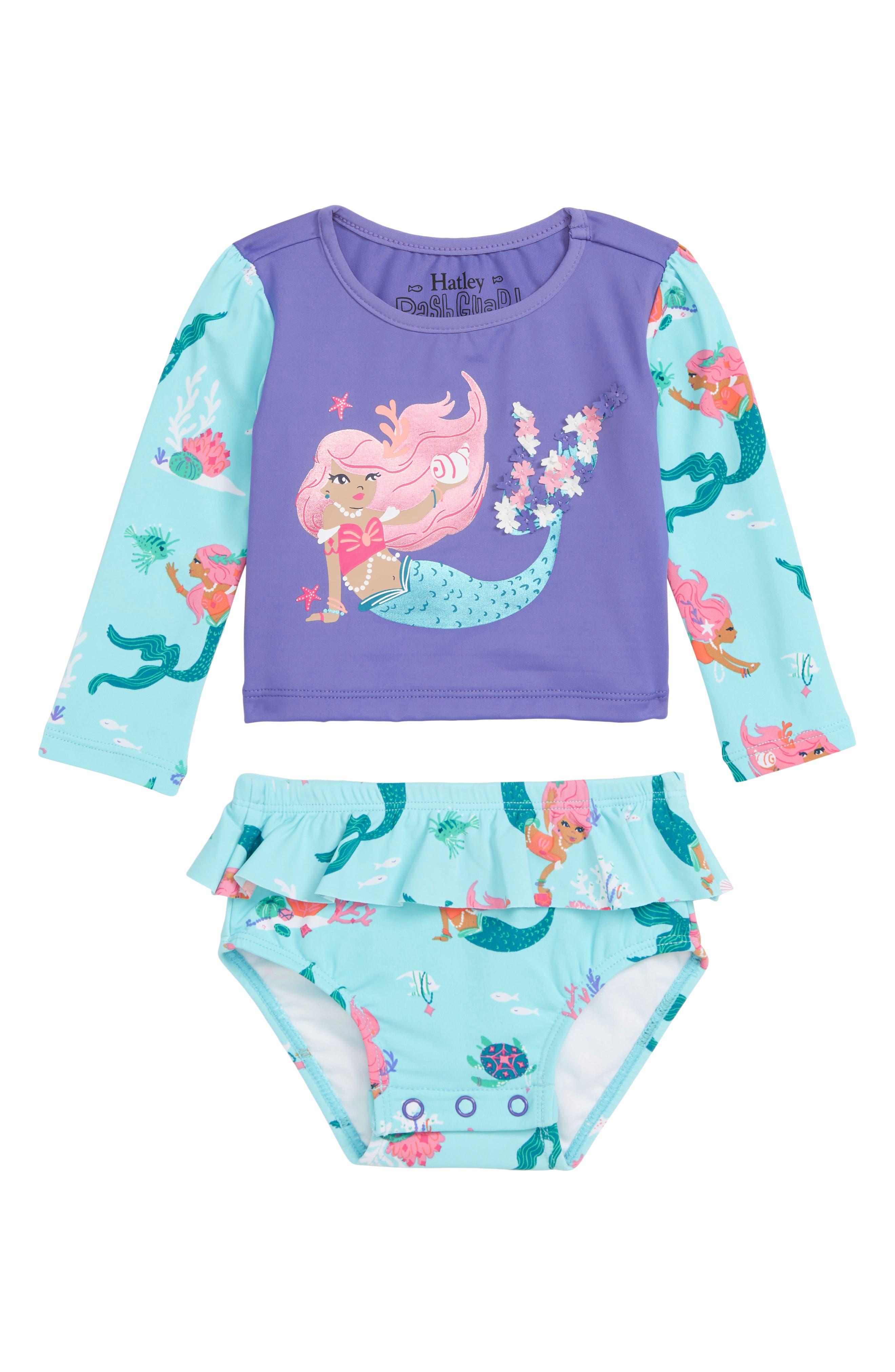 HATLEY, Mermaid Tales Two-Piece Rashguard Swimsuit, Main thumbnail 1, color, PURPLE