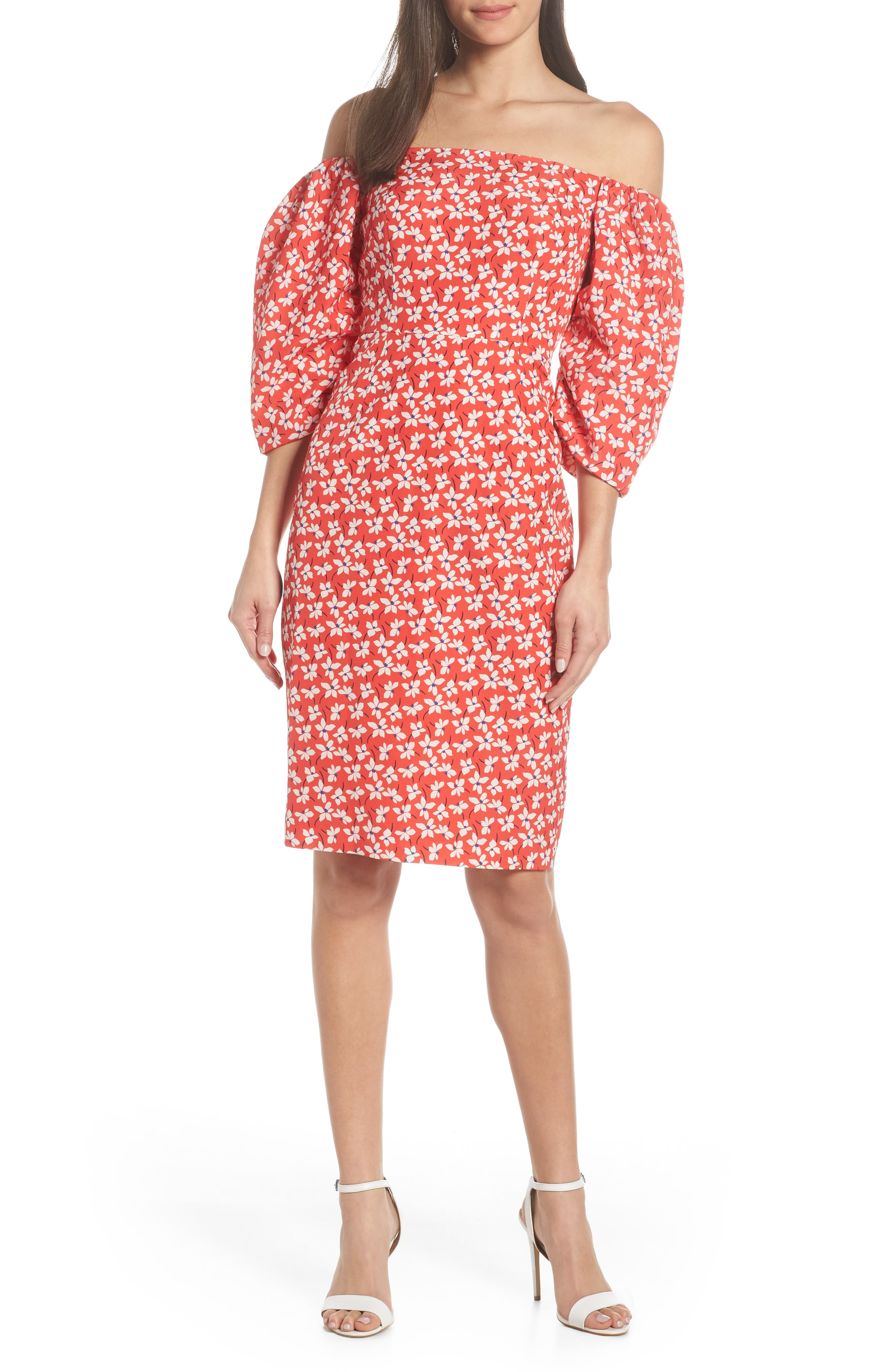 Chelsea28 Off The Shoulder Balloon Sleeve Dress, Red