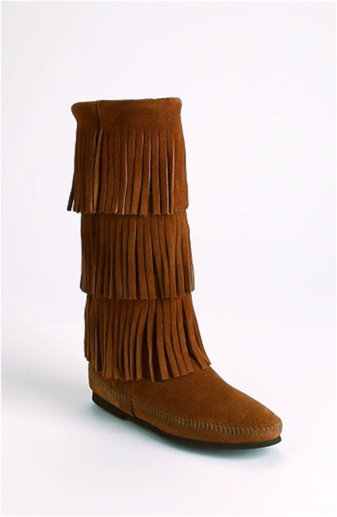 MINNETONKA, 3-Layer Fringe Boot, Alternate thumbnail 2, color, BROWN SUEDE